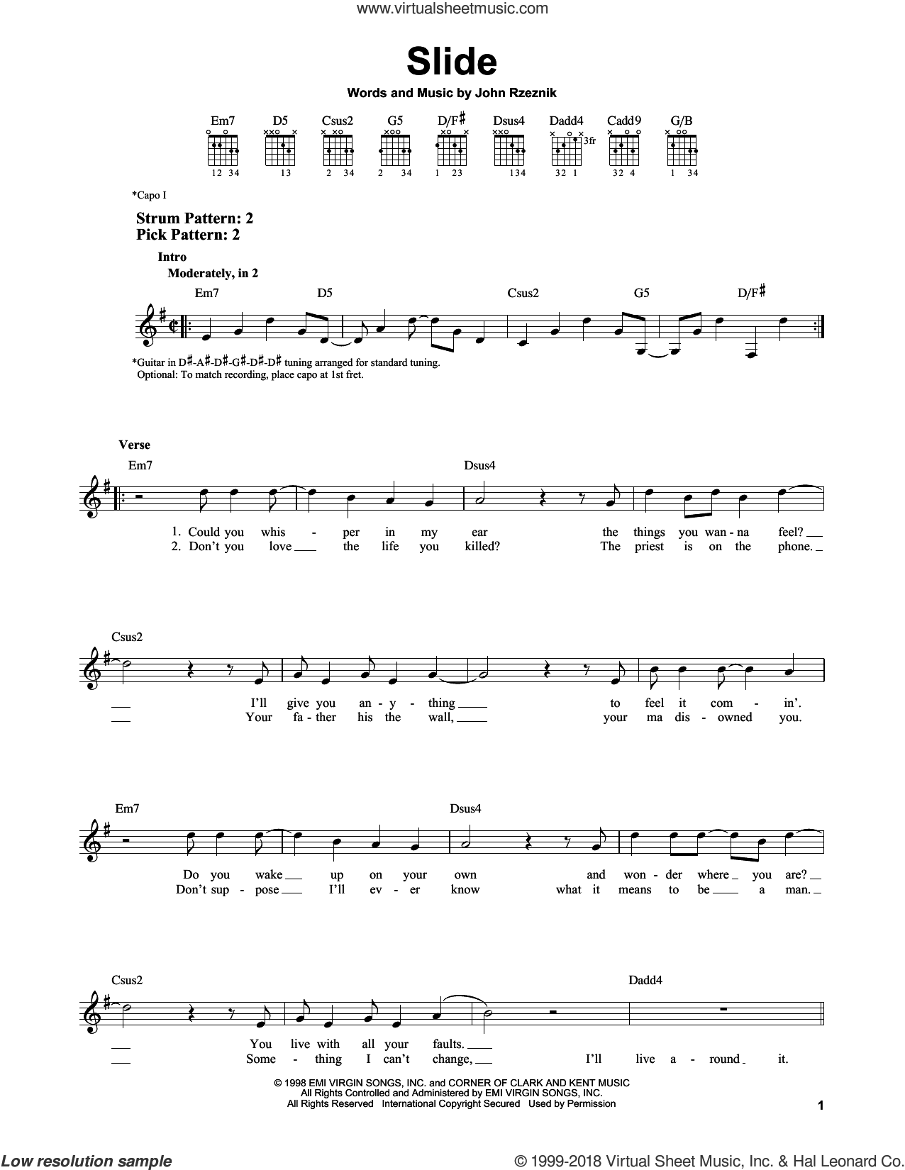 Slide sheet music for guitar solo (chords) by John Rzeznik. Score Image Preview.