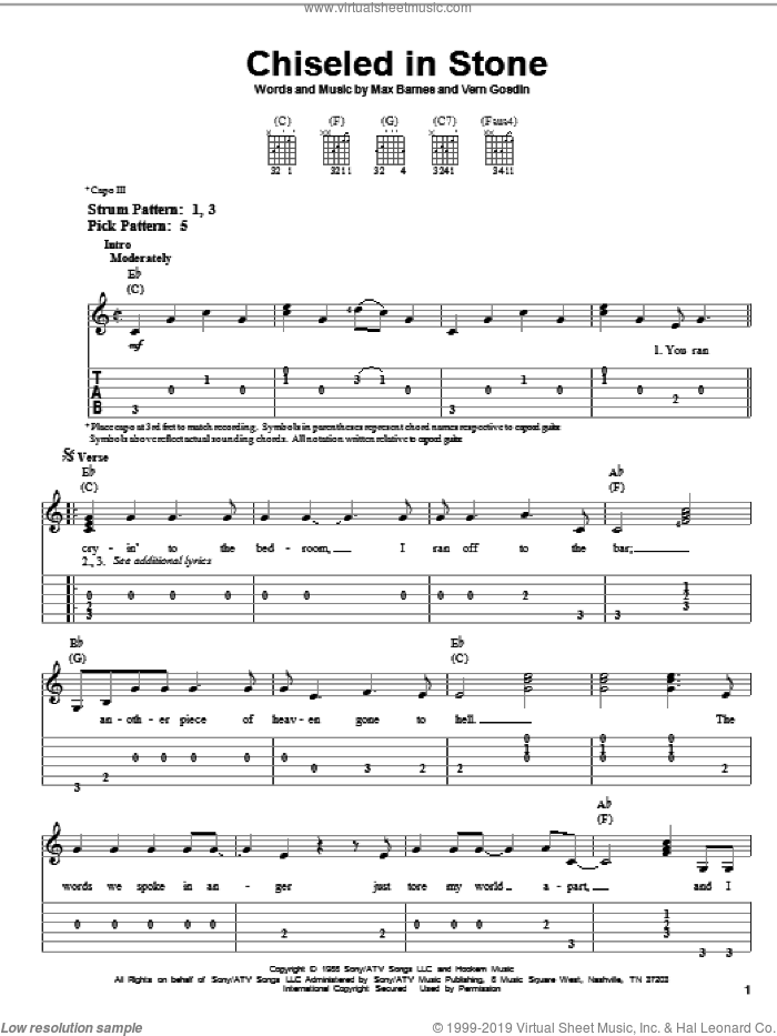 Chiseled In Stone sheet music for guitar solo (easy tablature) by Vern Gosdin and Max Barnes, easy guitar (easy tablature)