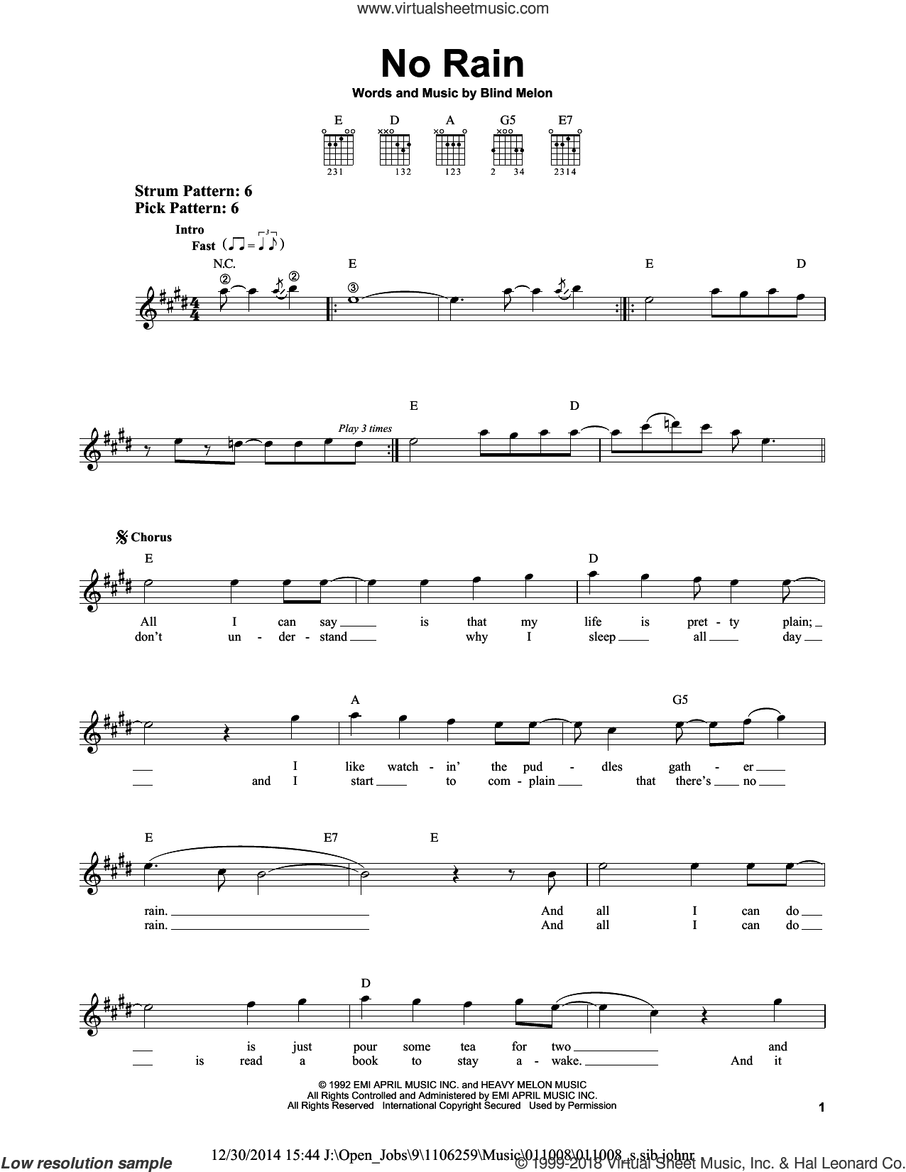No Rain sheet music for guitar solo (chords) by Blind Melon. Score Image Preview.