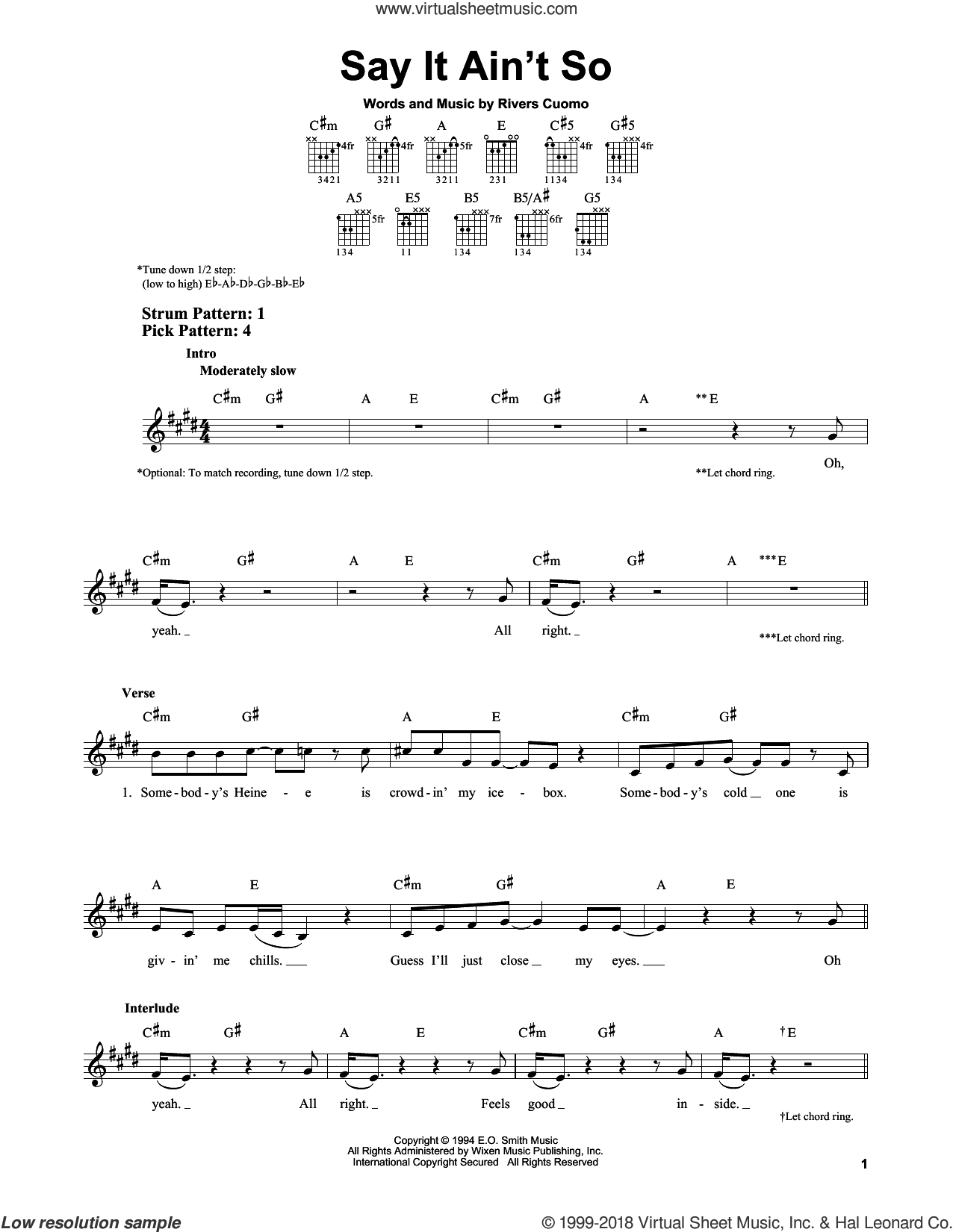 Say It Ain't So sheet music for guitar solo (chords) by Rivers Cuomo and Weezer. Score Image Preview.
