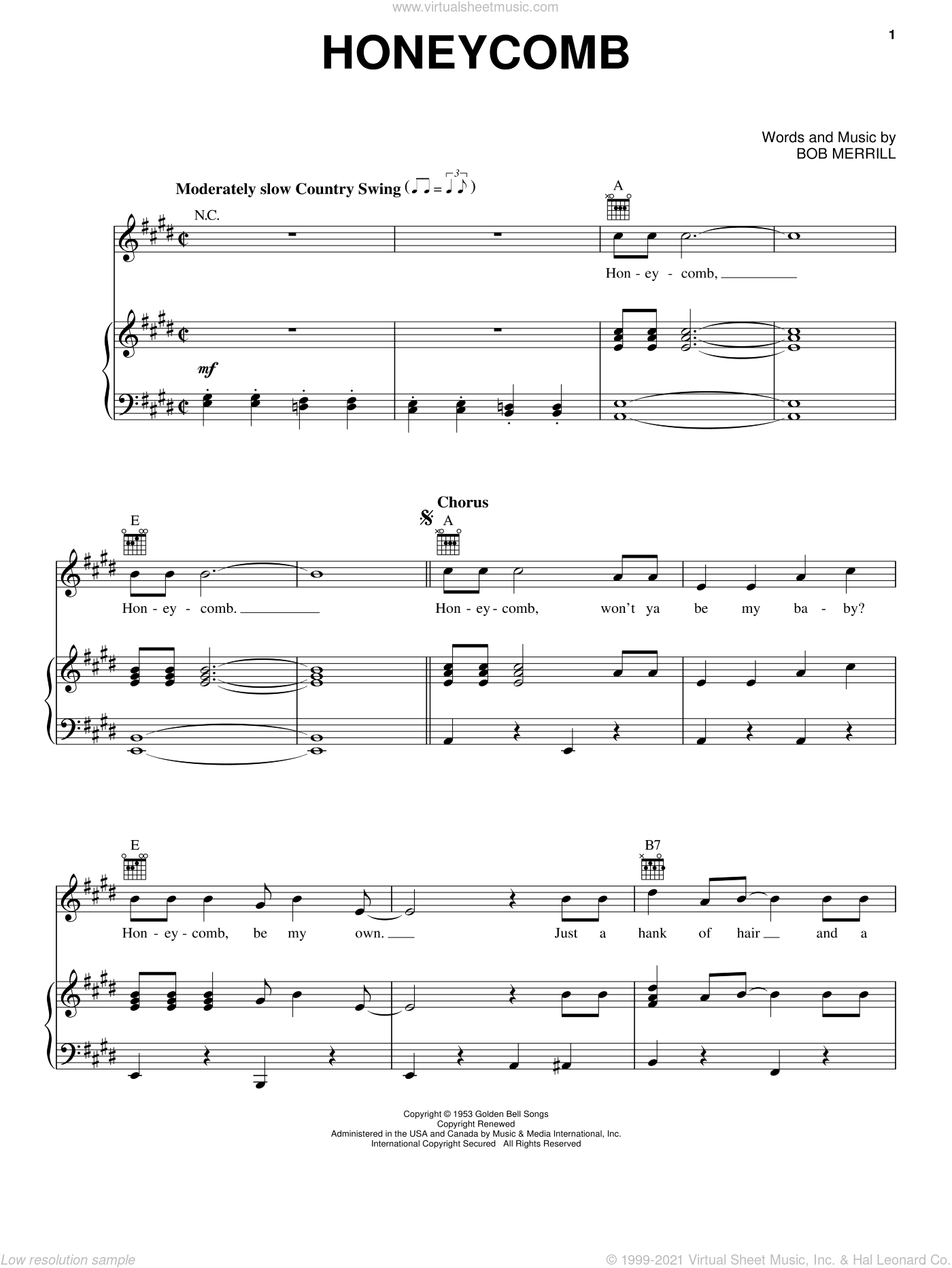 Honeycomb sheet music for voice, piano or guitar by Jimmie Rodgers and Bob Merrill, intermediate skill level