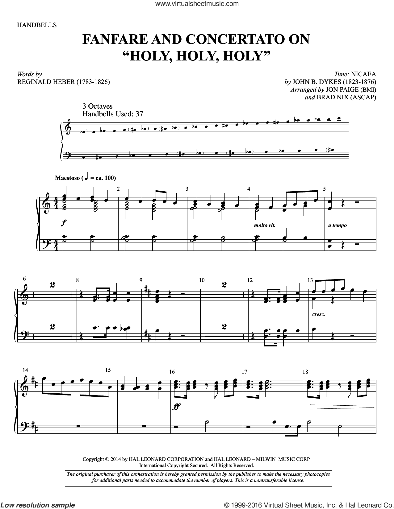 Holy, Holy, Holy sheet music for percussions by John Bacchus Dykes, Brad Nix, Jon Paige and Reginald Heber, intermediate. Score Image Preview.
