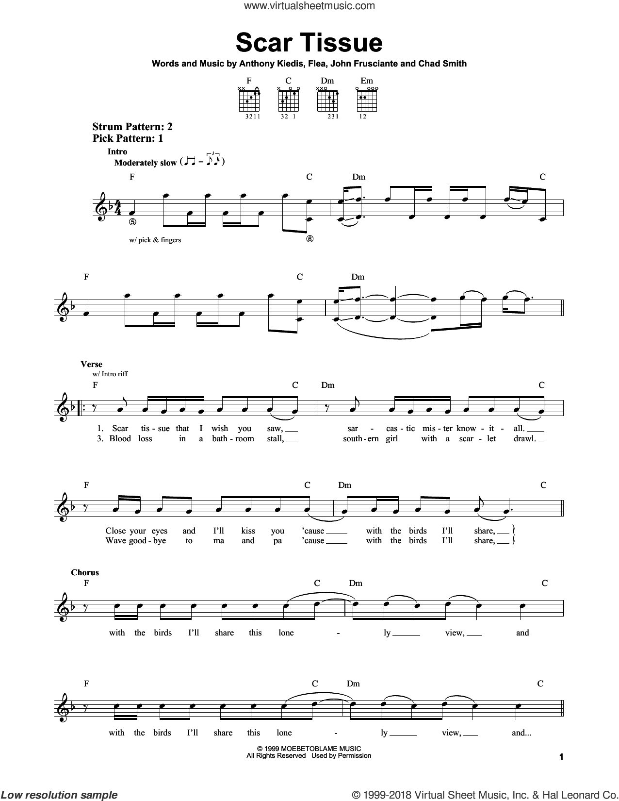 Scar Tissue sheet music for guitar solo (chords) by Red Hot Chili Peppers, Anthony Kiedis, Chad Smith, Flea and John Frusciante, easy guitar (chords)