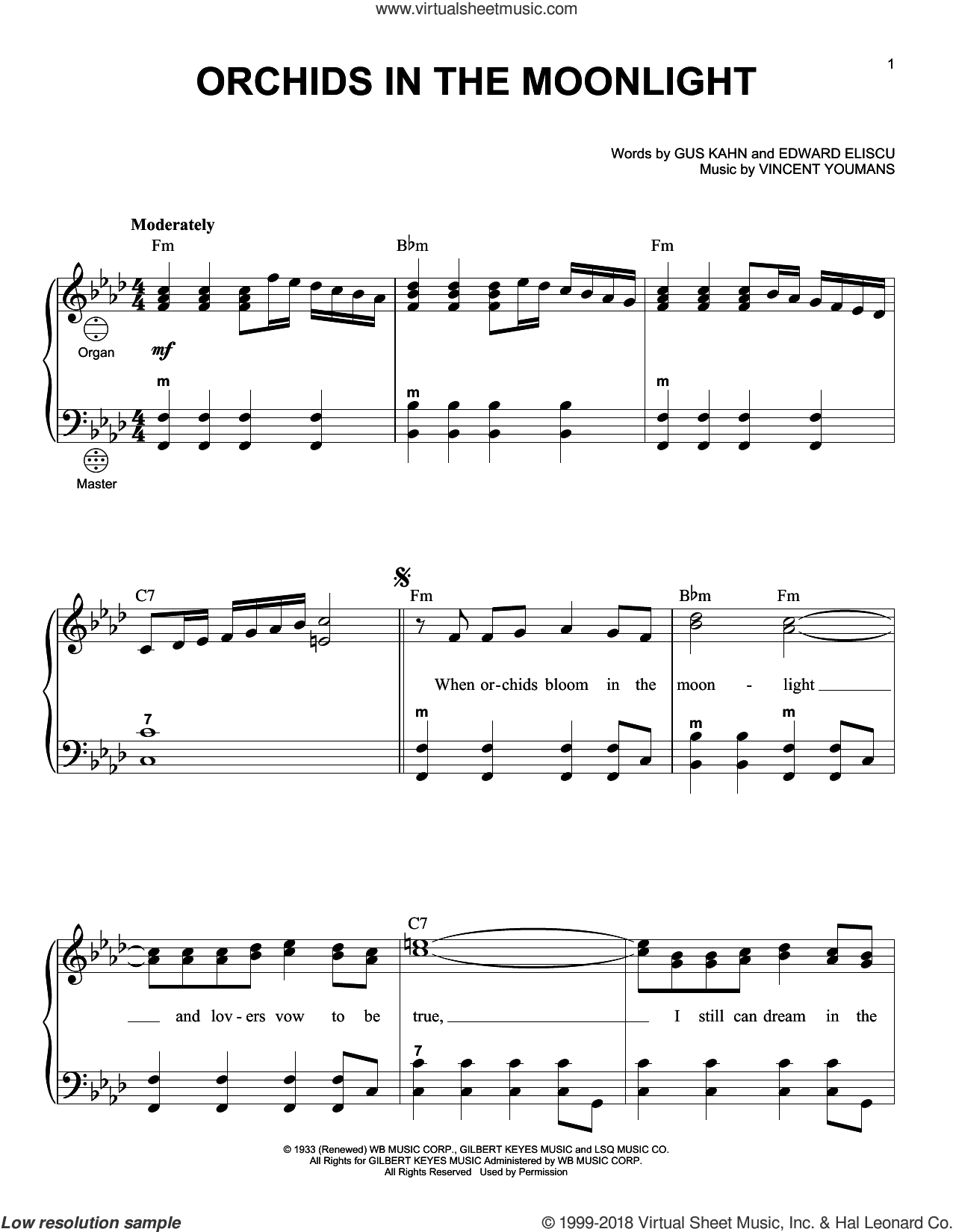 Orchids In The Moonlight sheet music for accordion by Gus Kahn, Gary Meisner, Edward Eliscu and Vincent Youmans, intermediate skill level