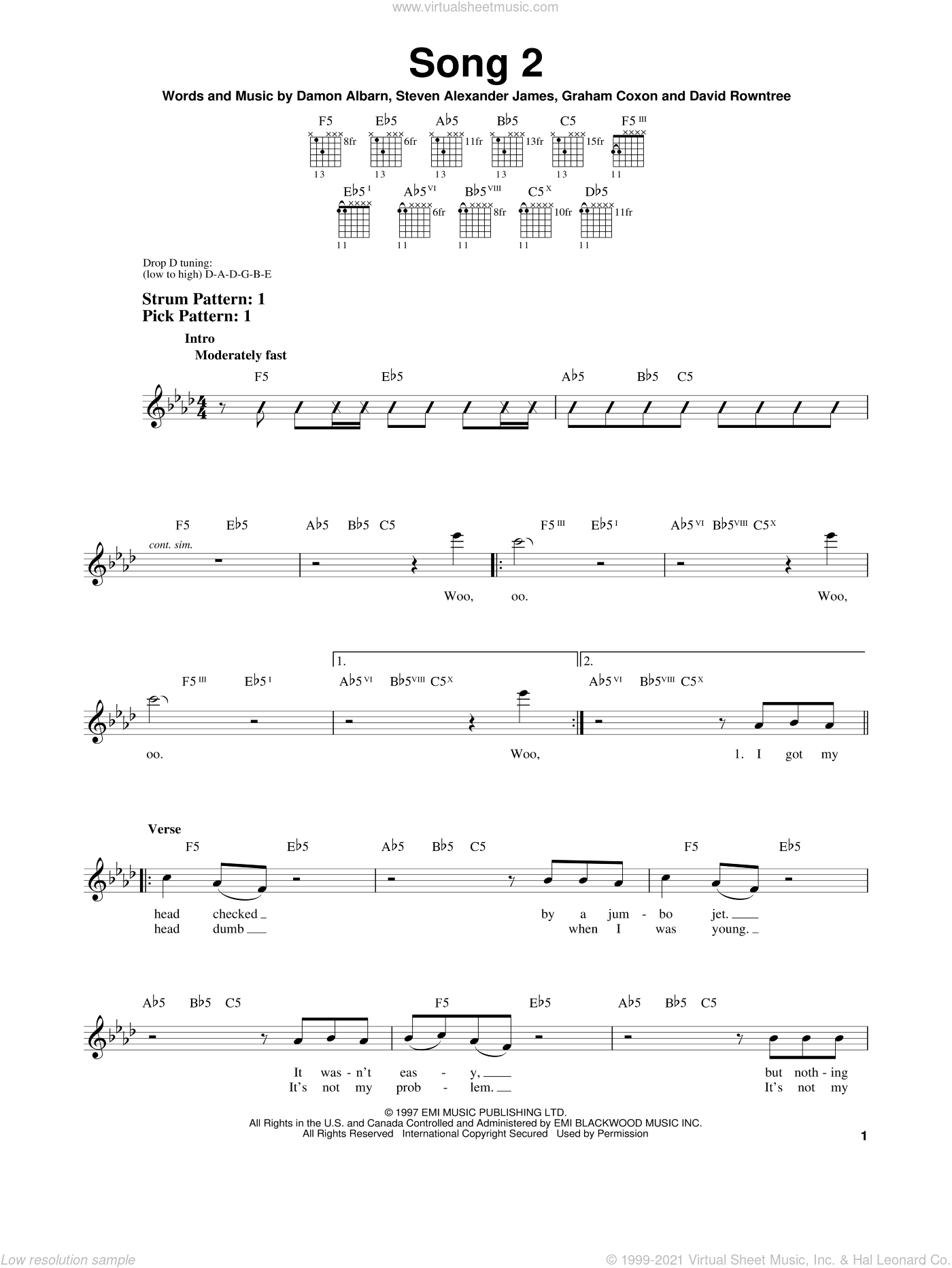 Song 2 sheet music for guitar solo (chords) by Steven Alexander James, Blur, Damon Albarn and Graham Coxon. Score Image Preview.