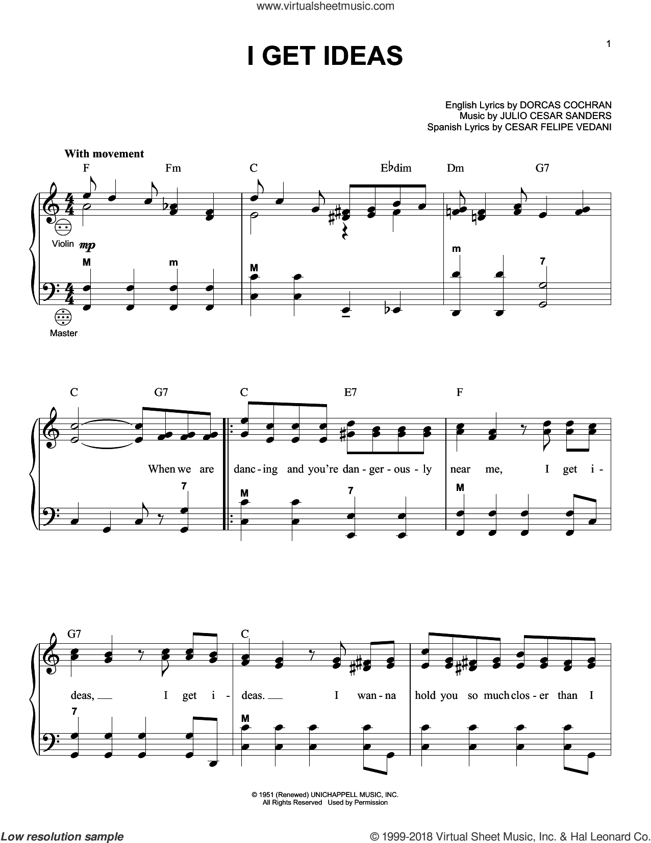 I Get Ideas sheet music for accordion by Julio Cesar Sanders, Gary Meisner and Dorcas Cochran. Score Image Preview.