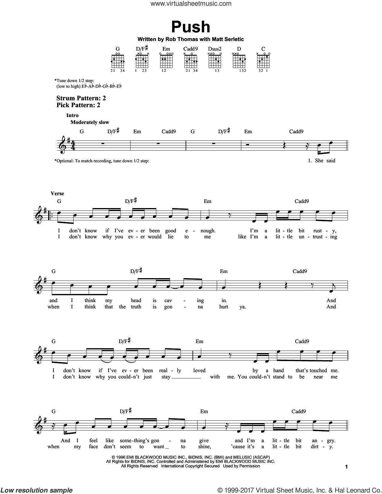 Push sheet music for guitar solo (chords) by Matchbox 20, Matt Serletic and Rob Thomas, easy guitar (chords)