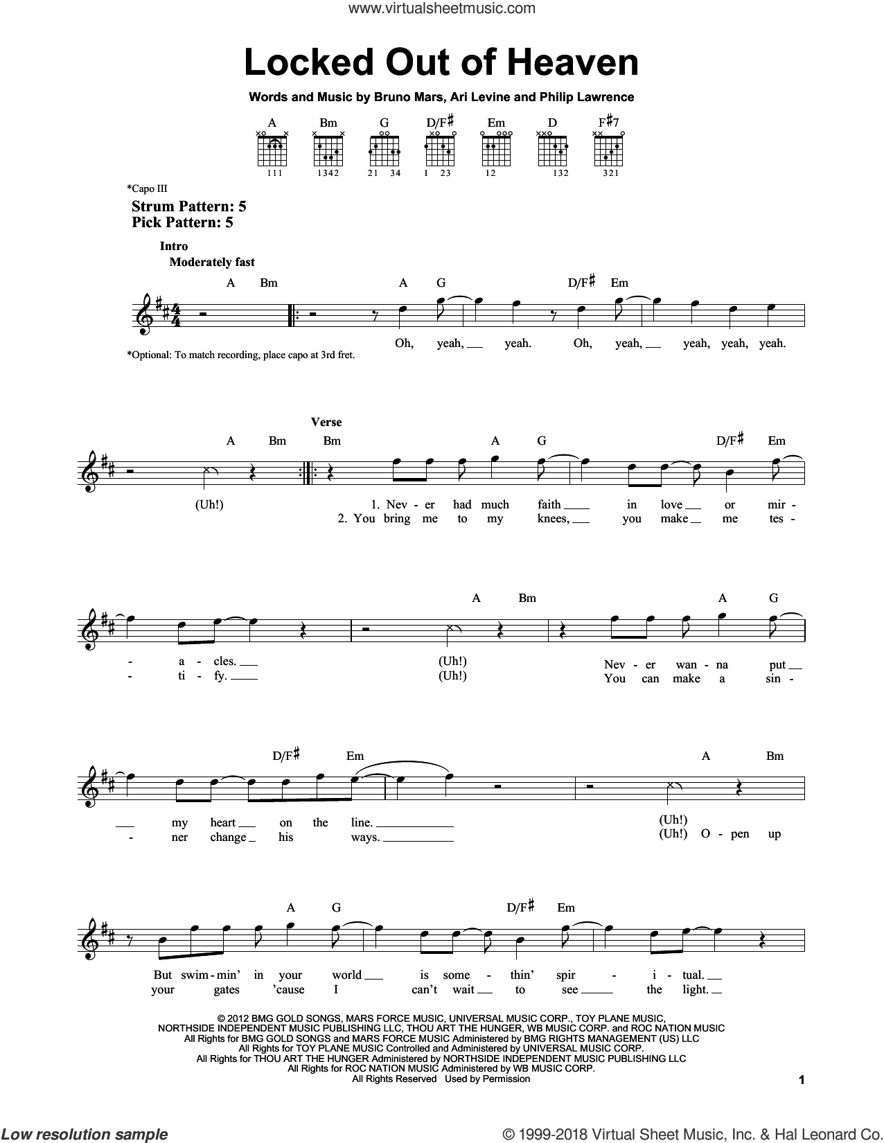 Locked Out Of Heaven sheet music for guitar solo (chords) by Philip Lawrence, Ari Levine and Bruno Mars. Score Image Preview.