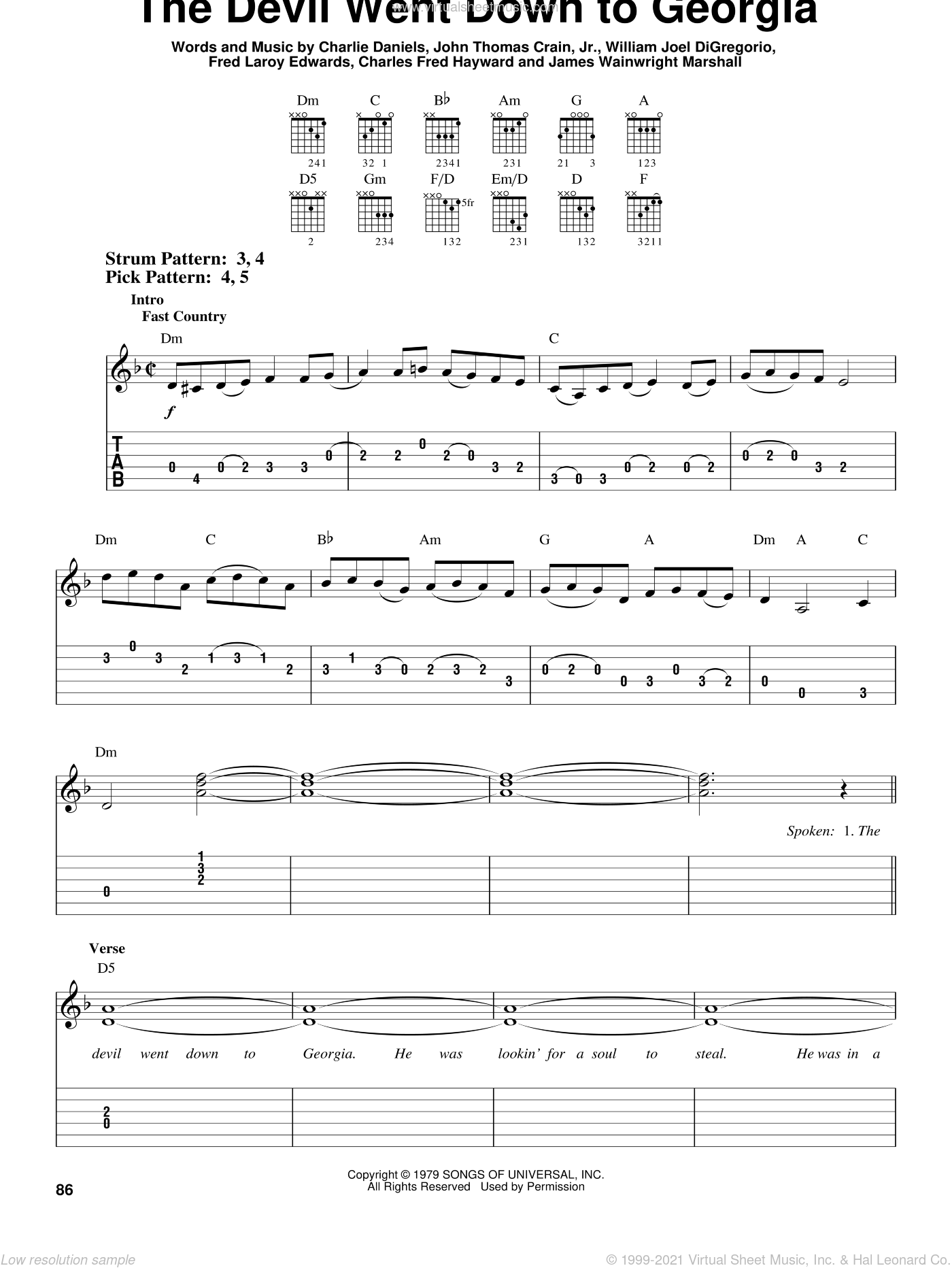 The Devil Went Down To Georgia sheet music for guitar solo (easy tablature) by Charlie Daniels Band, Charles Fred Hayward, Charlie Daniels, Fred Laroy Edwards, James Wainwright Marshall, John Thomas Crain, Jr. and William Joel DiGregorio, easy guitar (easy tablature)
