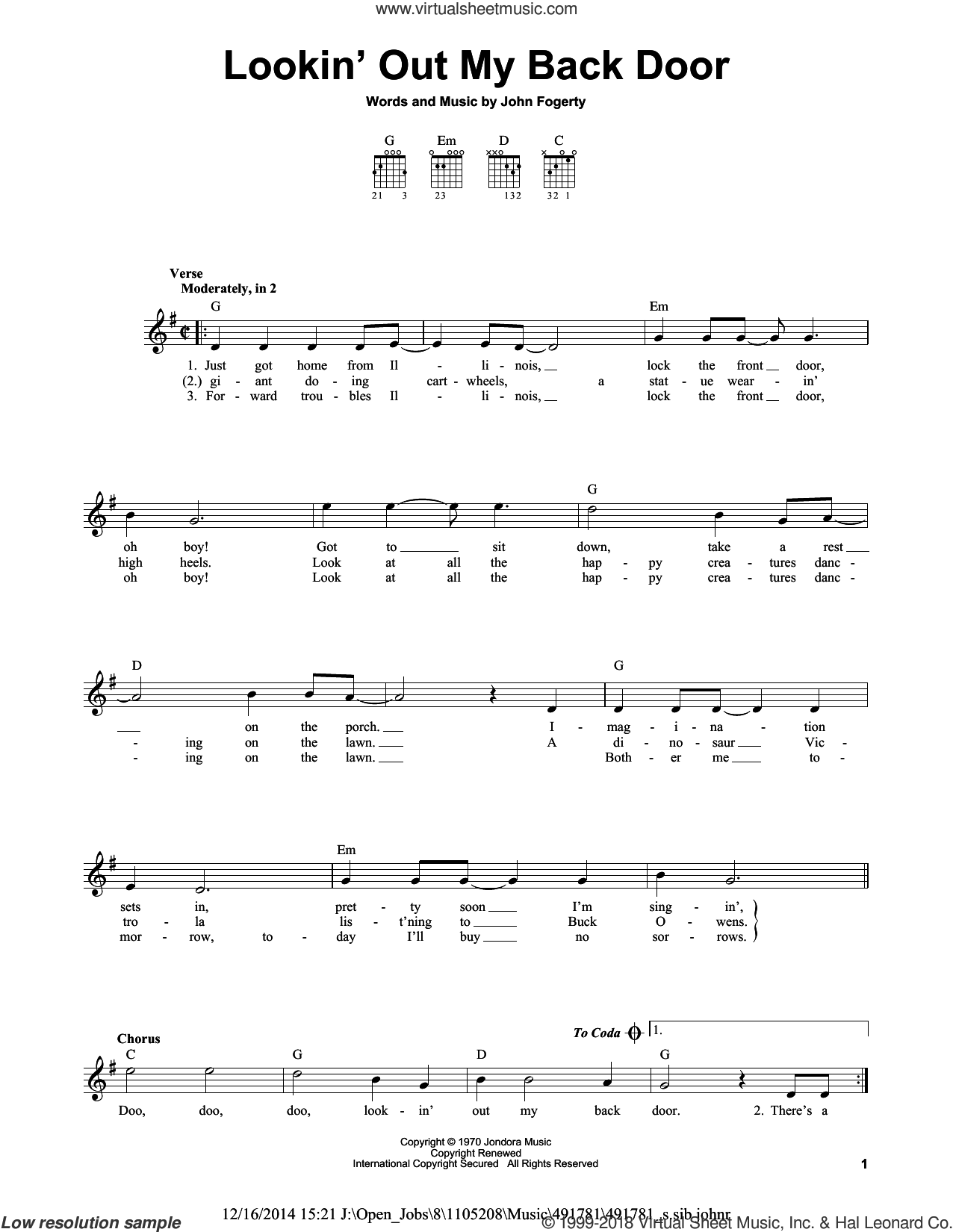 Lookin' Out My Back Door sheet music for guitar solo (chords) by Creedence Clearwater Revival and John Fogerty. Score Image Preview.