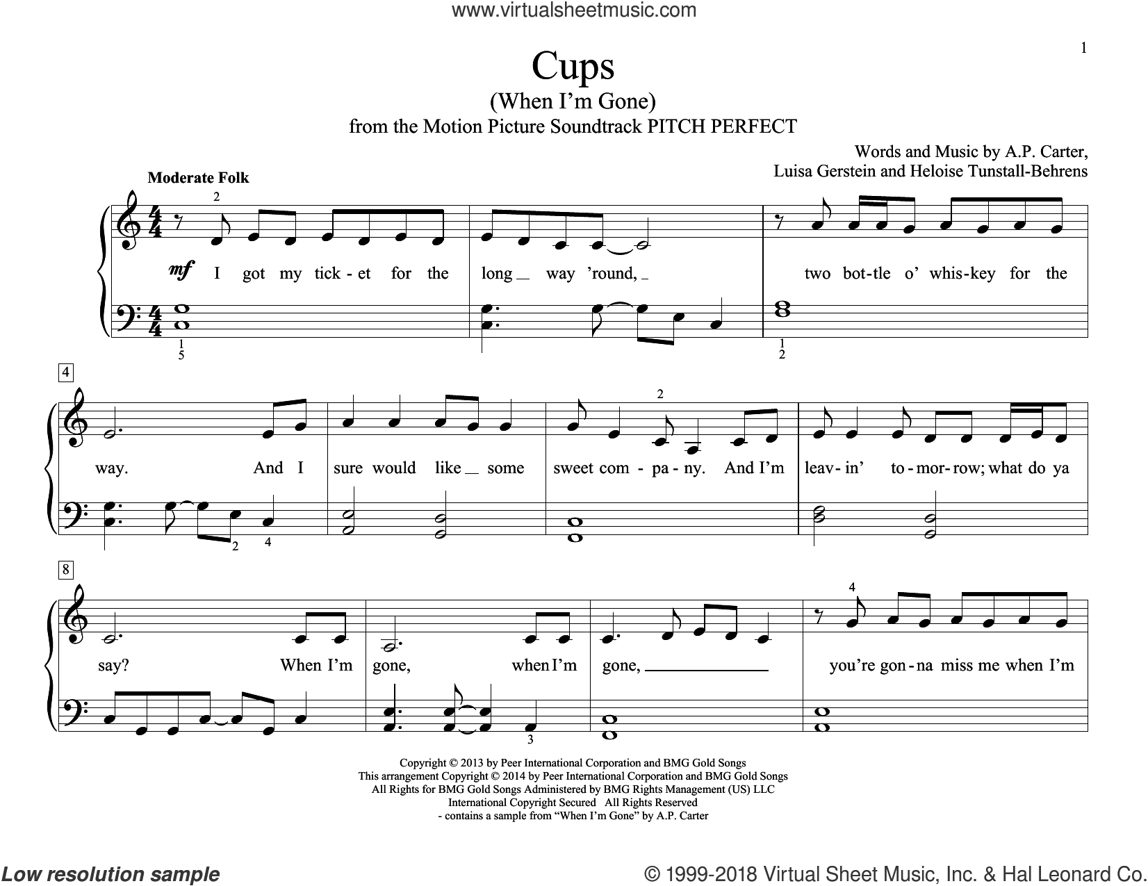 Cups (When I'm Gone) sheet music for piano solo (elementary) by Anna Kendrick and A.P. Carter, beginner piano (elementary). Score Image Preview.