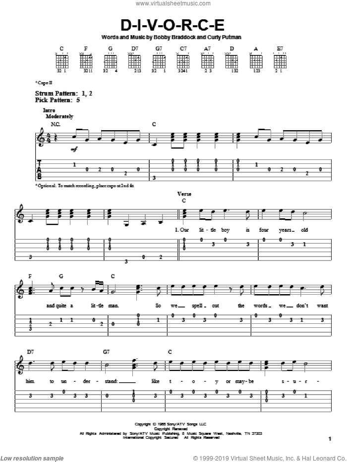 D-I-V-O-R-C-E sheet music for guitar solo (easy tablature) by Curly Putman, Tammy Wynette and Bobby Braddock. Score Image Preview.