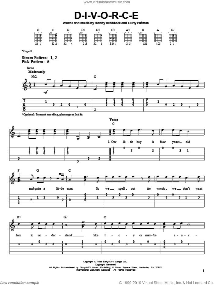 D-I-V-O-R-C-E sheet music for guitar solo (easy tablature) by Tammy Wynette, Bobby Braddock and Curly Putman, easy guitar (easy tablature)