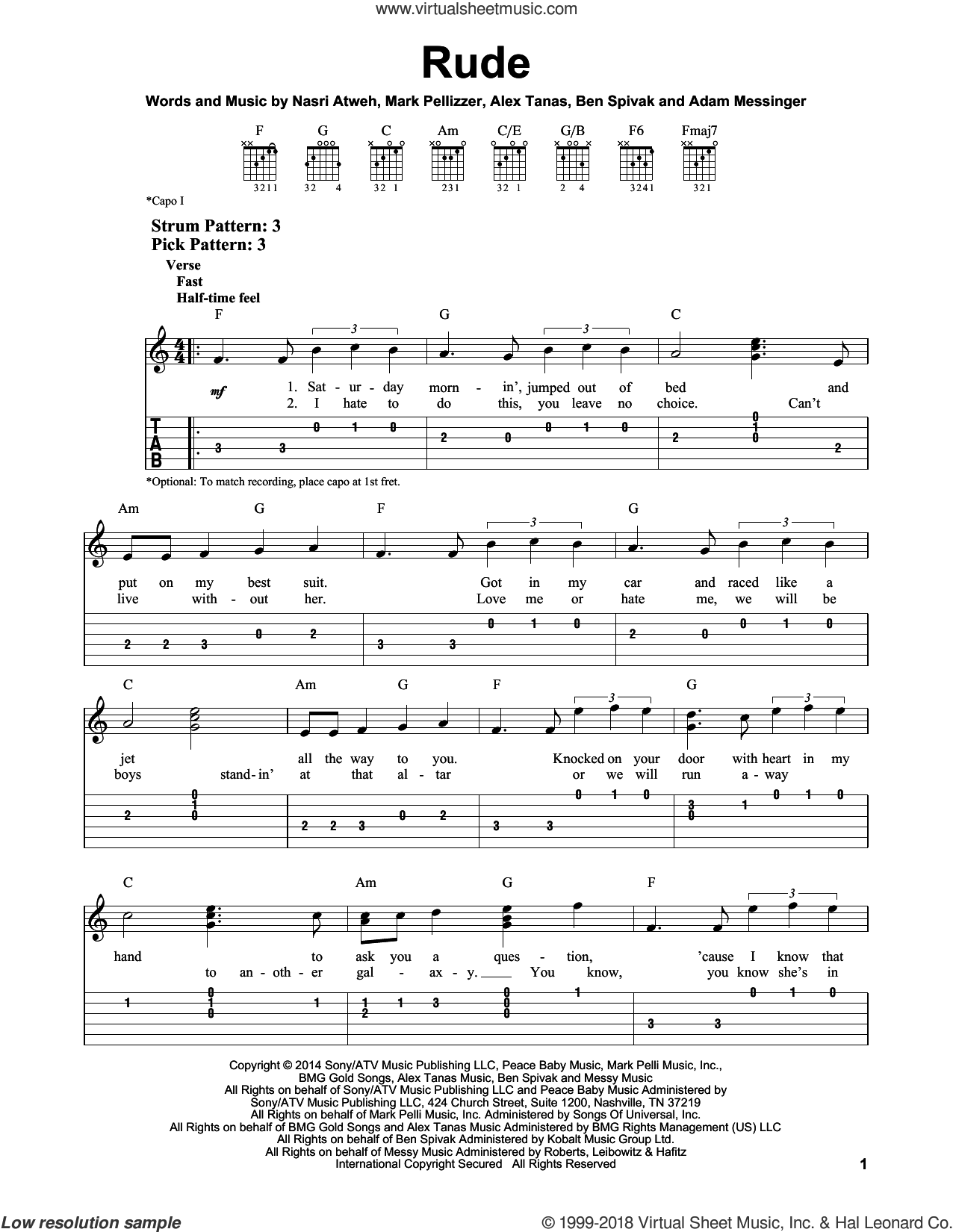 Rude sheet music for guitar solo (easy tablature) by Nasri Atweh and Adam Messinger. Score Image Preview.