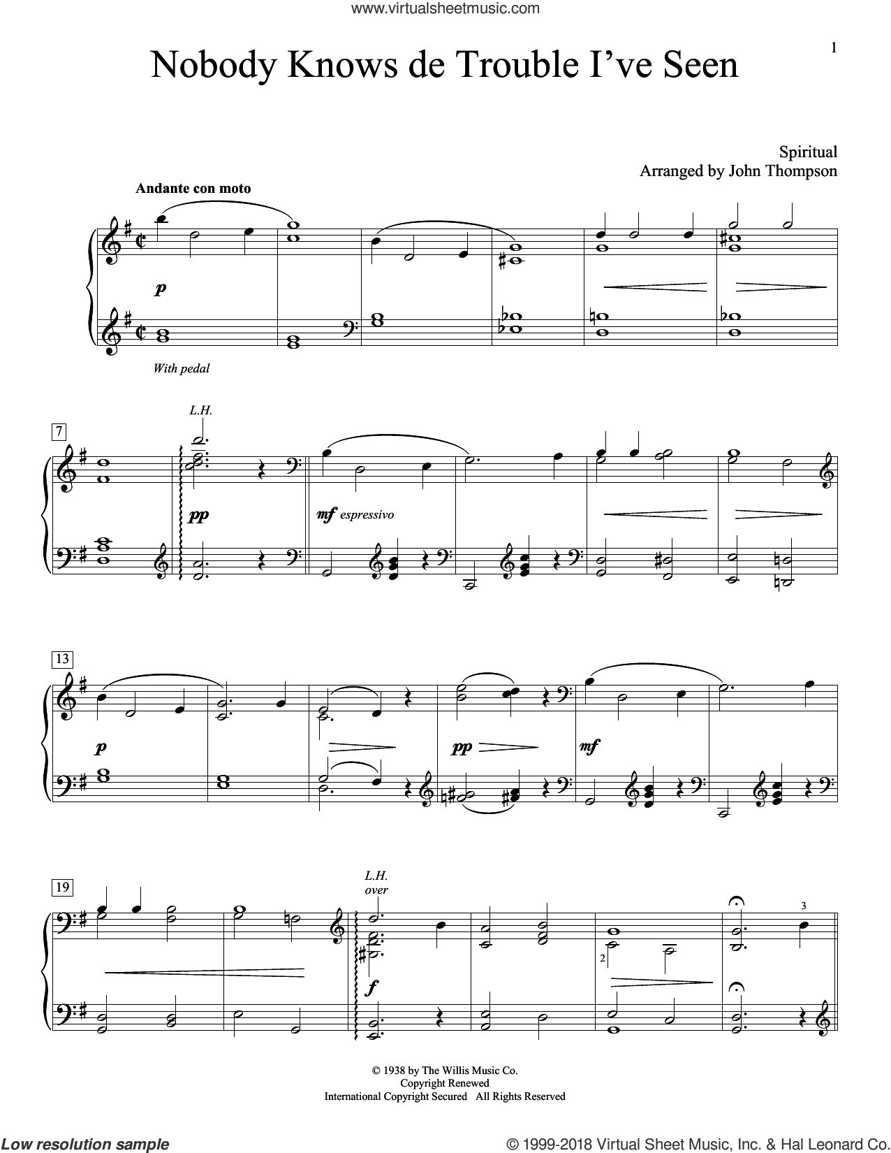 Nobody Knows De Trouble I've Seen sheet music for piano solo (elementary) by John Thompson. Score Image Preview.