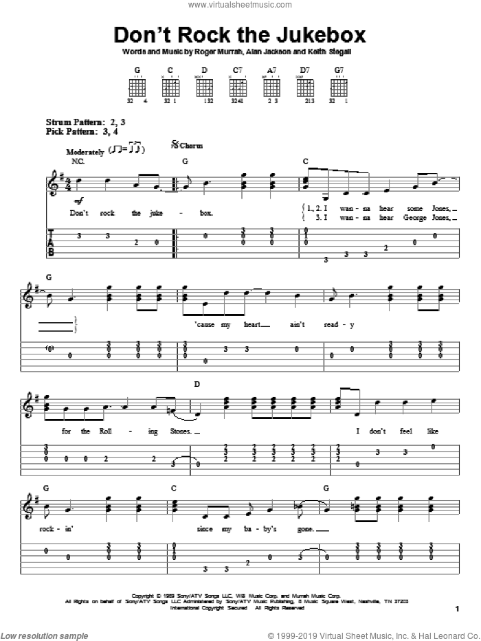 Don't Rock The Jukebox sheet music for guitar solo (easy tablature) by Alan Jackson, Keith Stegall and Roger Murrah. Score Image Preview.