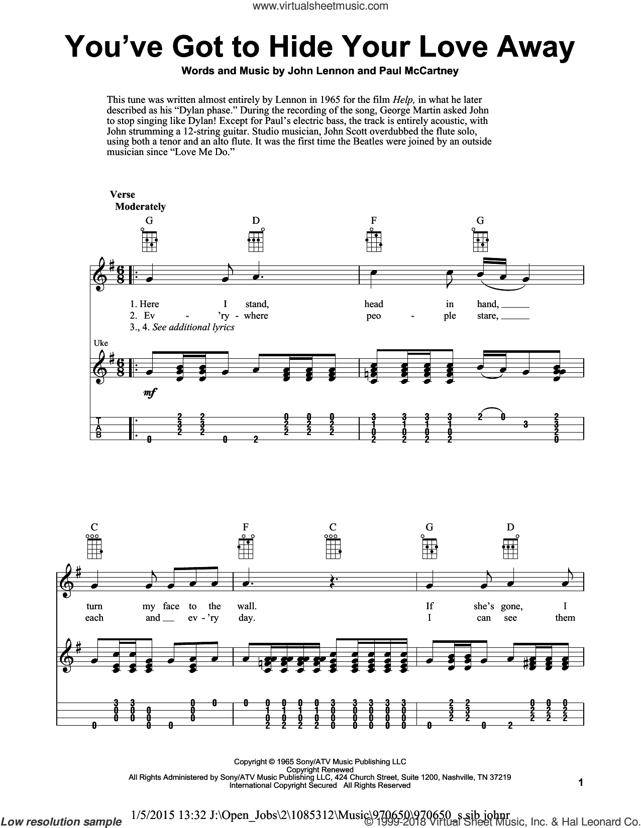 You've Got To Hide Your Love Away sheet music for ukulele by The Beatles, Eddie Vedder, Fred Sokolow, John Lennon and Paul McCartney, intermediate skill level