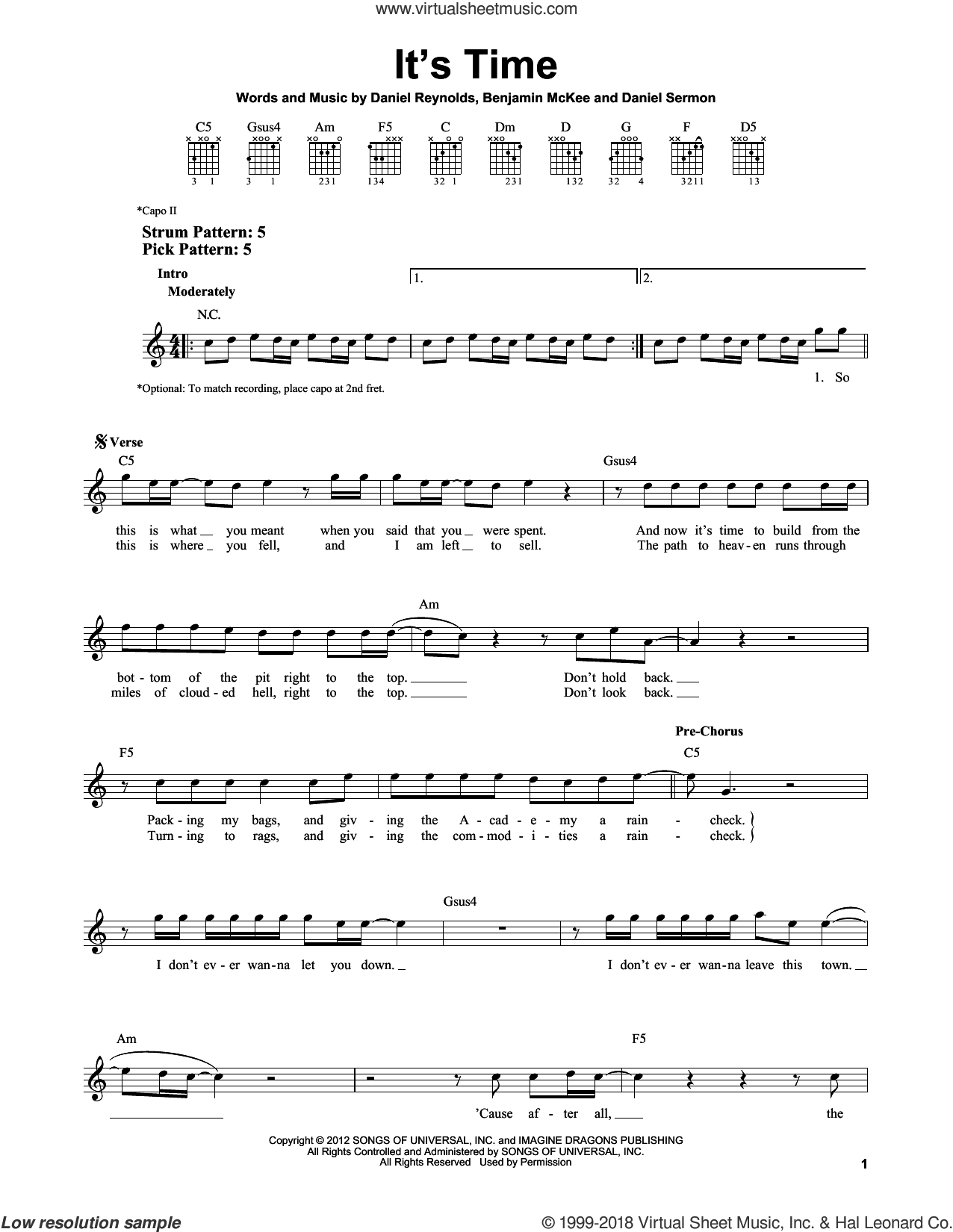 It's Time sheet music for guitar solo (chords) by Imagine Dragons, Benjamin McKee, Daniel Reynolds and Daniel Sermon, easy guitar (chords)