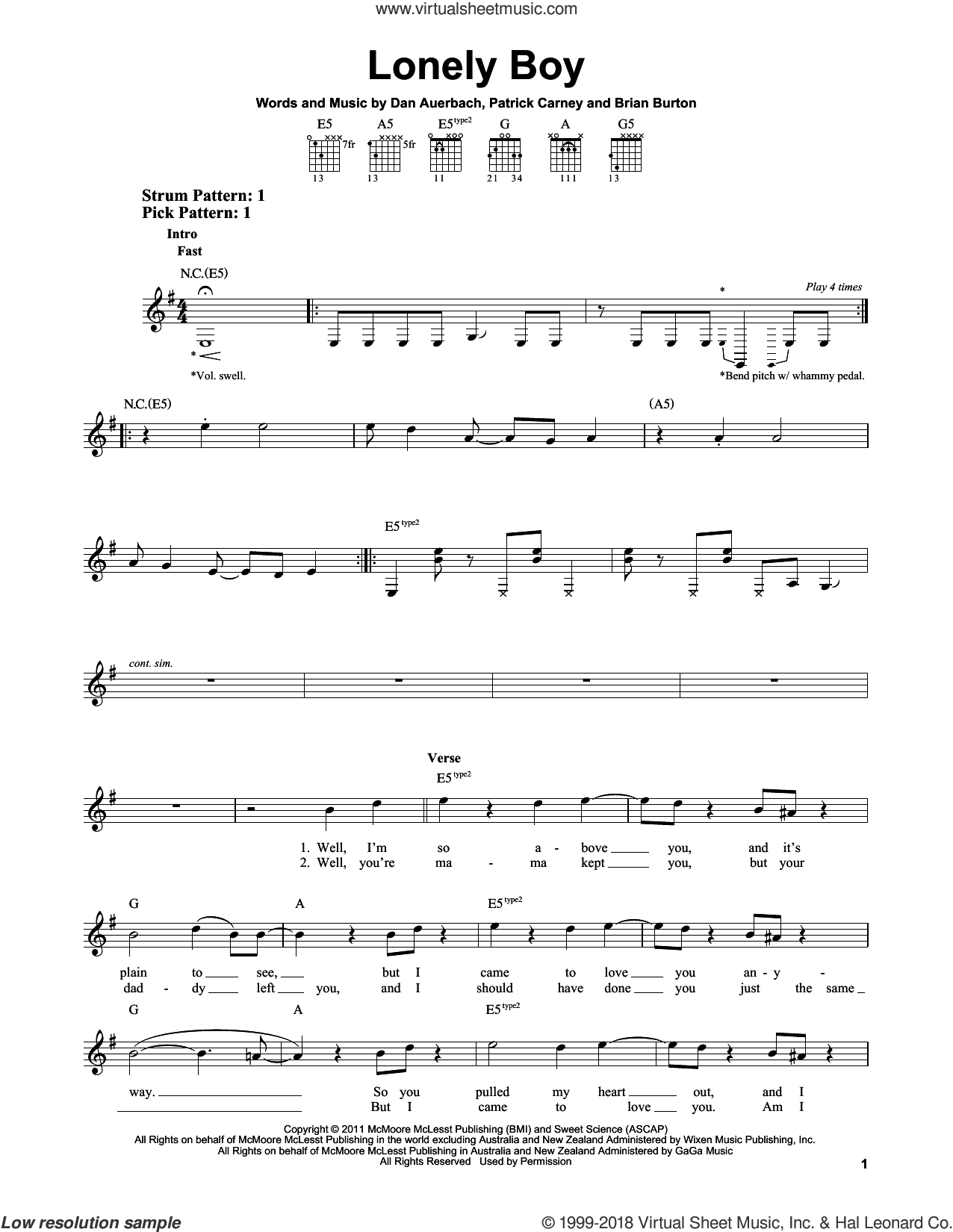 Lonely Boy sheet music for guitar solo (chords) by The Black Keys and Daniel Auerbach, easy guitar (chords). Score Image Preview.