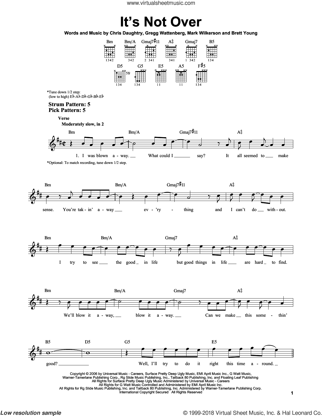 It's Not Over sheet music for guitar solo (chords) by Daughtry, Brett Young, Chris Daughtry, Gregg Wattenberg and Mark Wilkerson, easy guitar (chords)