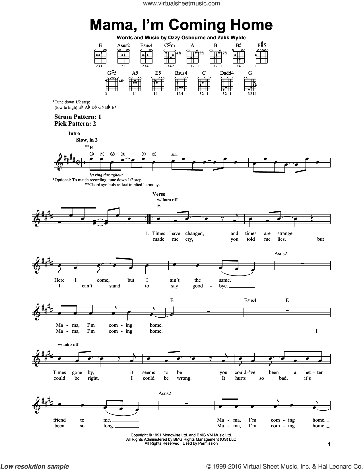 Mama, I'm Coming Home sheet music for guitar solo (chords) by Ozzy Osbourne and Zakk Wylde, easy guitar (chords)