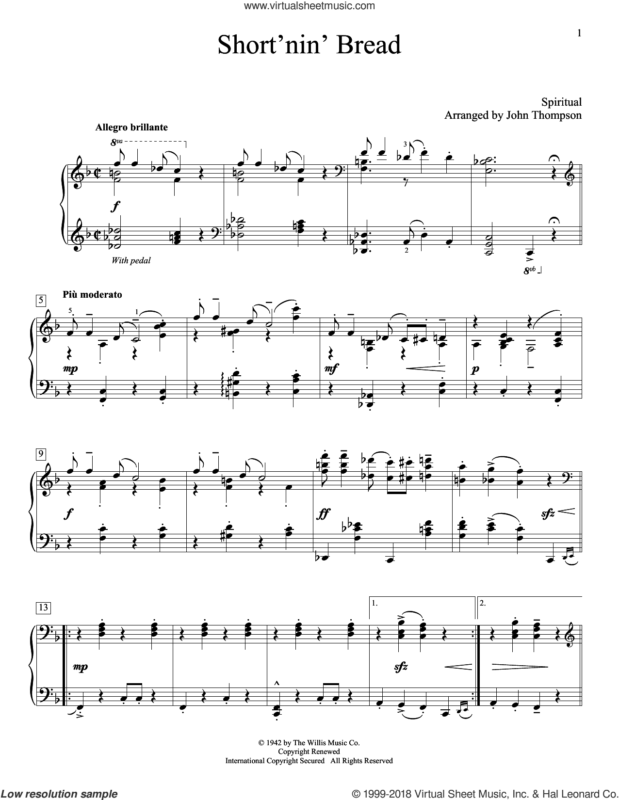 Short'nin' Bread sheet music for piano solo (elementary) by John Thompson. Score Image Preview.