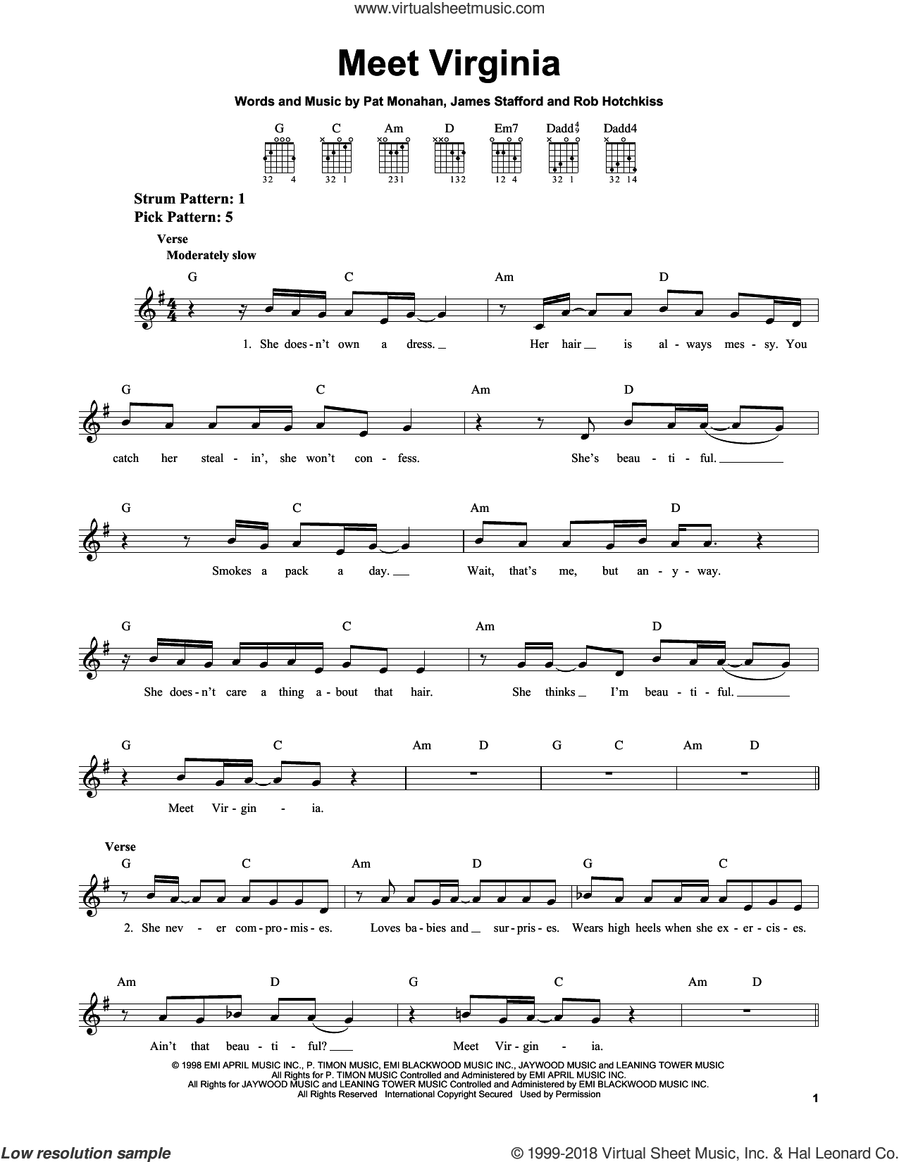 Meet Virginia sheet music for guitar solo (chords) by Train and Pat Monahan, easy guitar (chords). Score Image Preview.