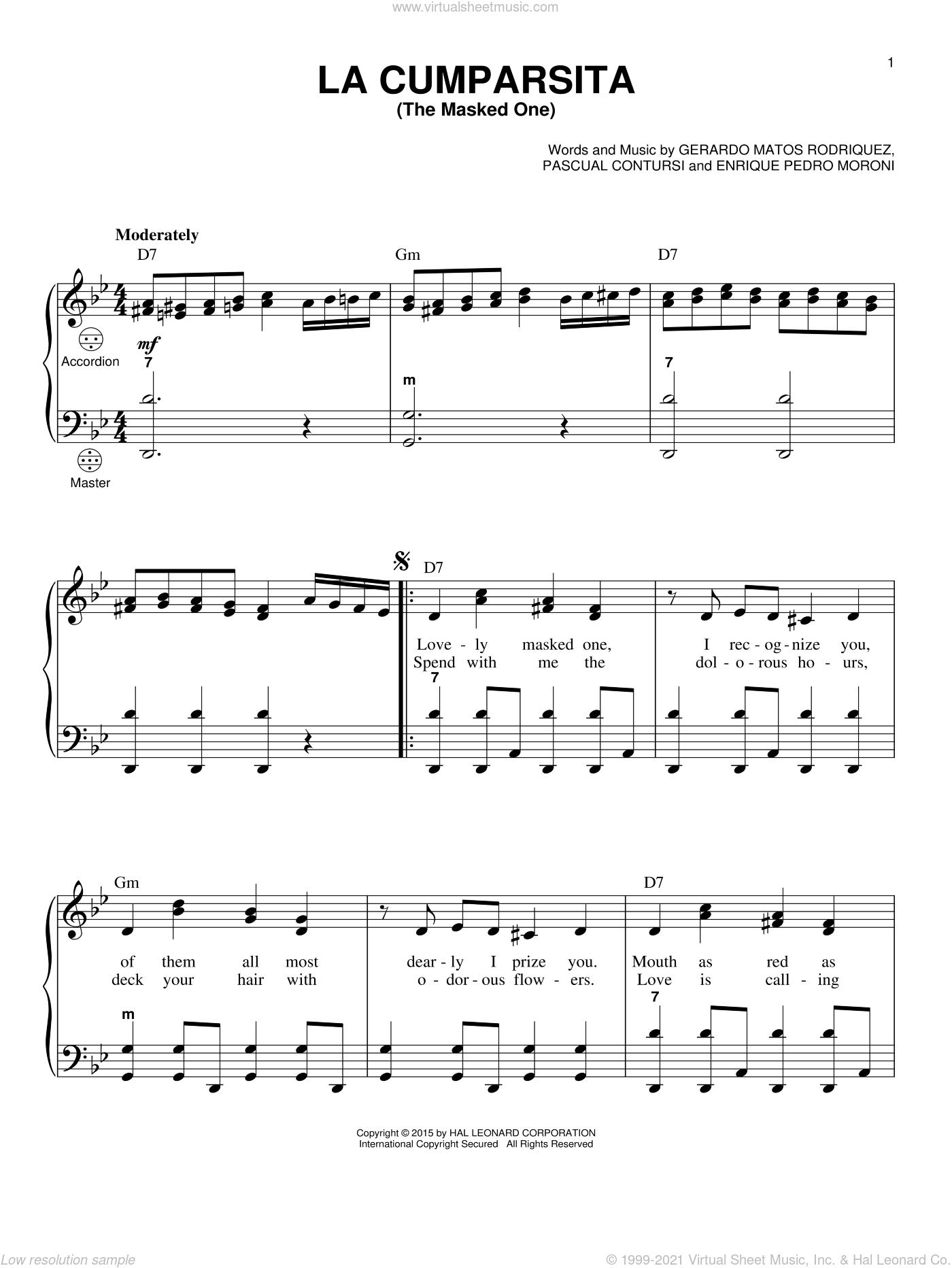La Cumparsita (The Masked One) sheet music for accordion by Gerardo Matos Rodriguez, Gary Meisner, Enrique Pedro Moroni and Pascual Contursi, intermediate skill level