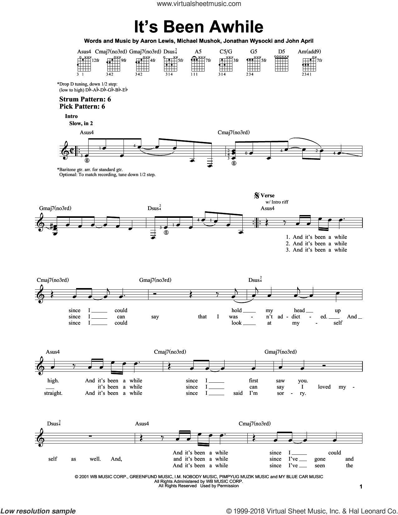 It's Been Awhile sheet music for guitar solo (chords) by Staind, Aaron Lewis, John April, Jonathan Wysocki and Michael Mushok, easy guitar (chords)