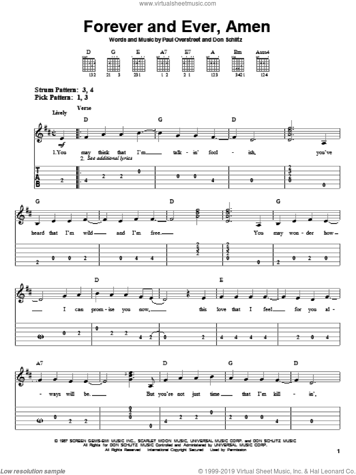 Forever And Ever, Amen sheet music for guitar solo (easy tablature) by Randy Travis, Don Schlitz and Paul Overstreet, wedding score, easy guitar (easy tablature)