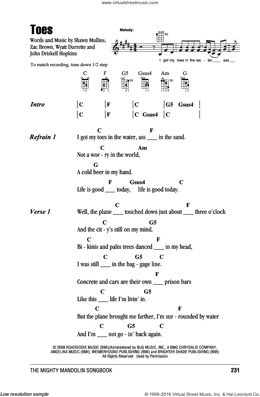 Toes sheet music for mandolin (chords only) by Zac Brown Band, Miscellaneous, John Driskell Hopkins, Shawn Mullins, Wyatt Durrette and Zac Brown, intermediate skill level