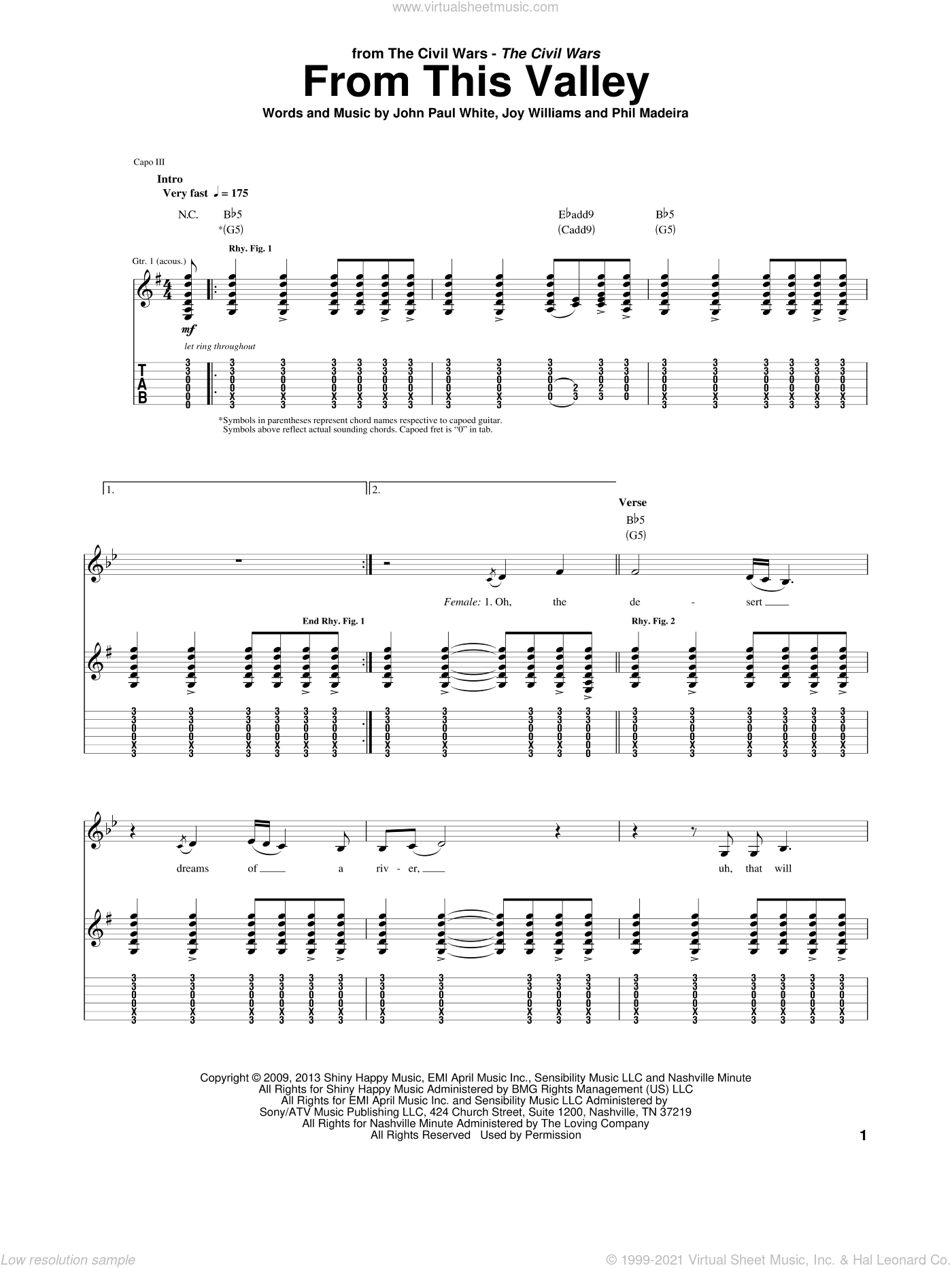 From This Valley sheet music for guitar (tablature) by The Civil Wars, John Paul White, Joy Williams and Phil Madeira, intermediate skill level