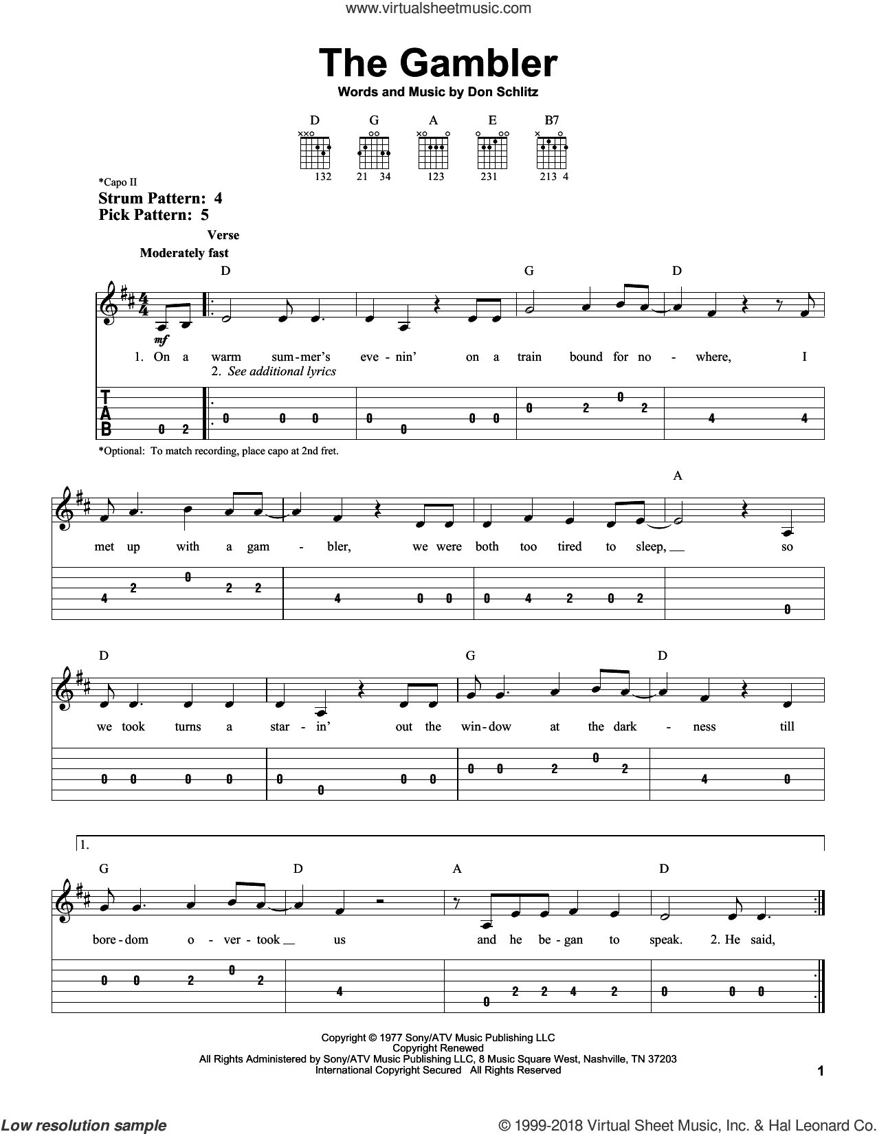 The Gambler sheet music for guitar solo (easy tablature) by Don Schlitz