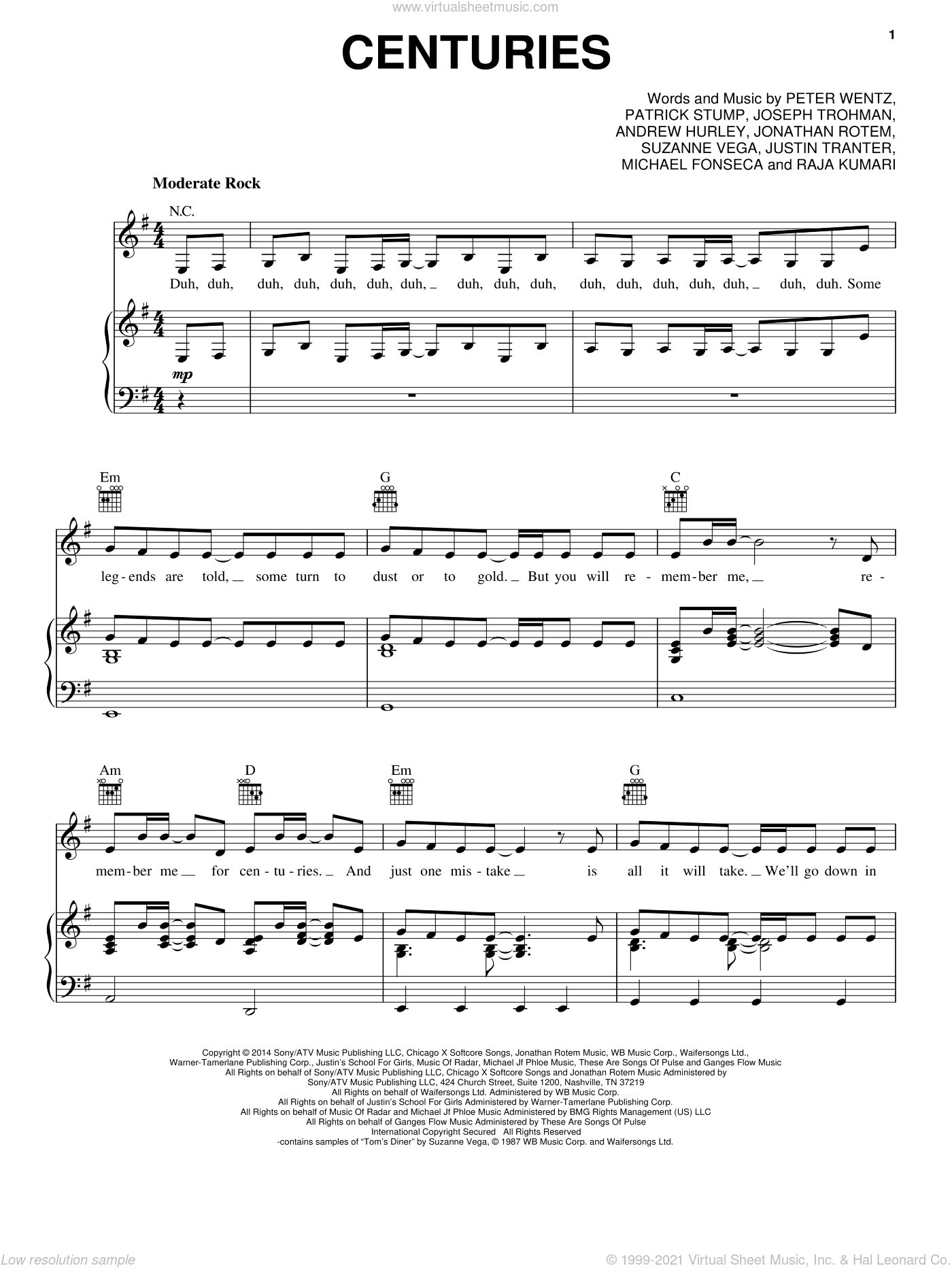 Centuries sheet music for voice, piano or guitar by Fall Out Boy, Andrew Hurley, Jonathan Rotem, Joseph Trohman, Justin Tranter, Michael Fonesca, Patrick Stump, Peter Wentz, Raja Kumari and Suzanne Vega, intermediate skill level