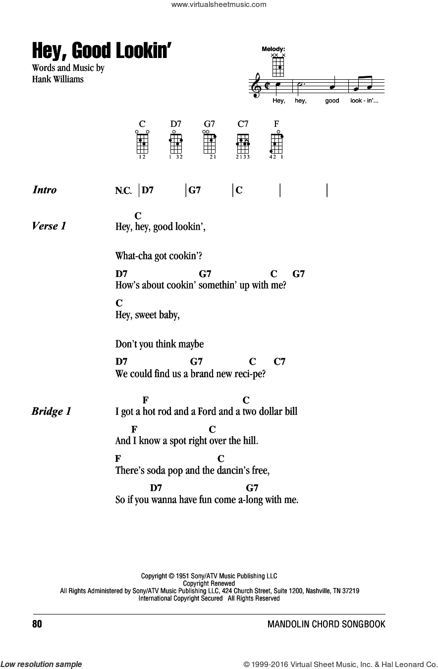 Hey, Good Lookin' sheet music for mandolin (chords only) by Hank Williams. Score Image Preview.