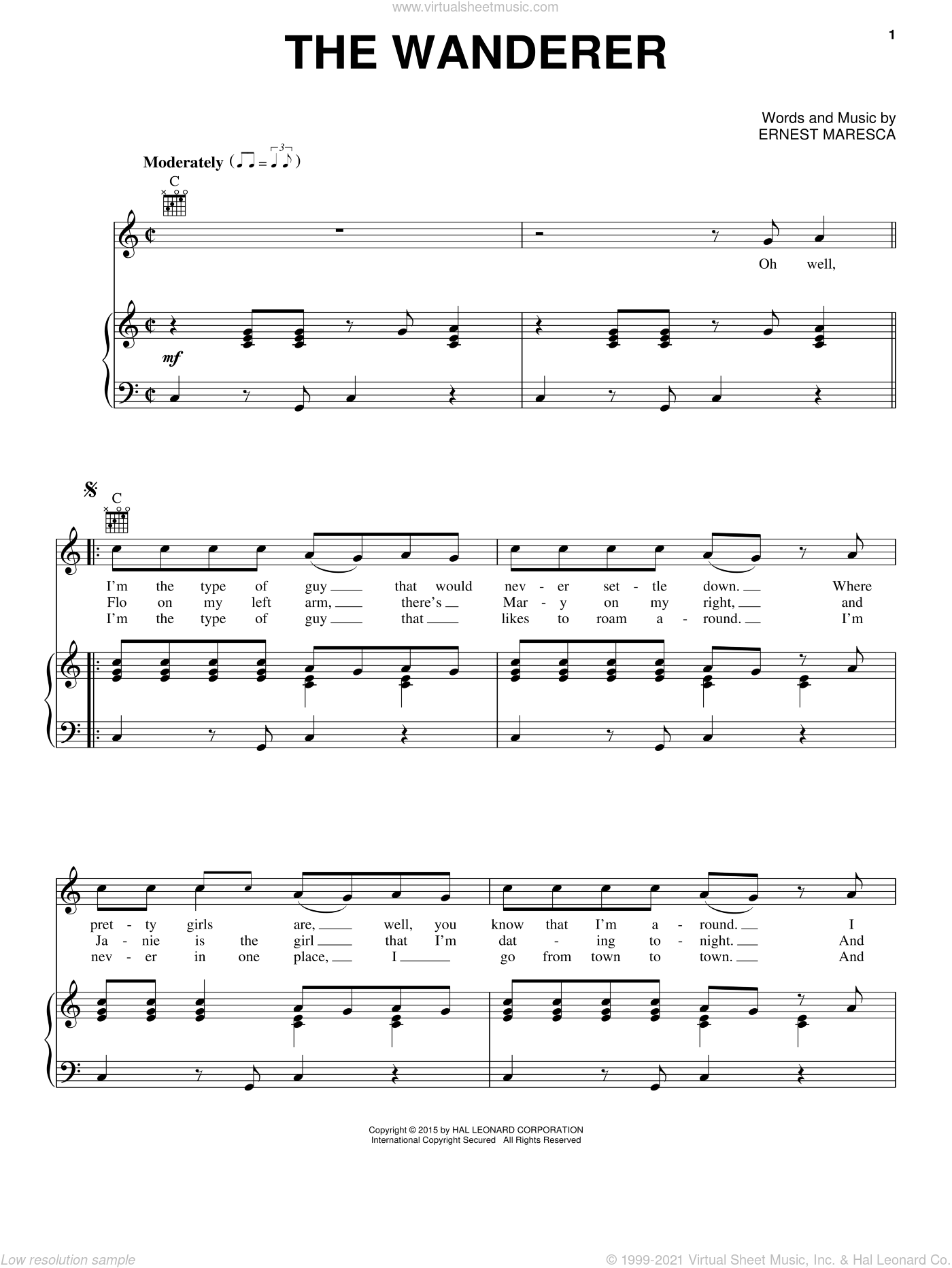 The Wanderer sheet music for voice, piano or guitar by Dion and Ernie Maresca, intermediate skill level