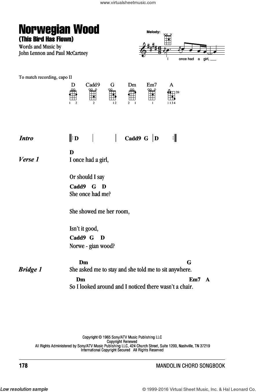 Norwegian Wood (This Bird Has Flown) sheet music for mandolin (chords only) by The Beatles, John Lennon and Paul McCartney, intermediate mandolin (chords only). Score Image Preview.
