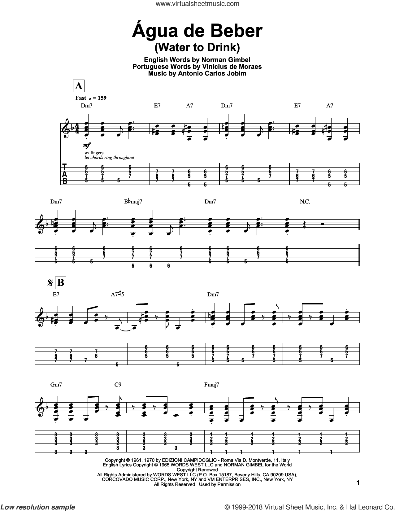 Agua De Beber (Water To Drink) sheet music for guitar (tablature, play-along) by Norman Gimbel, Antonio Carlos Jobim and Vinicius de Moraes, intermediate