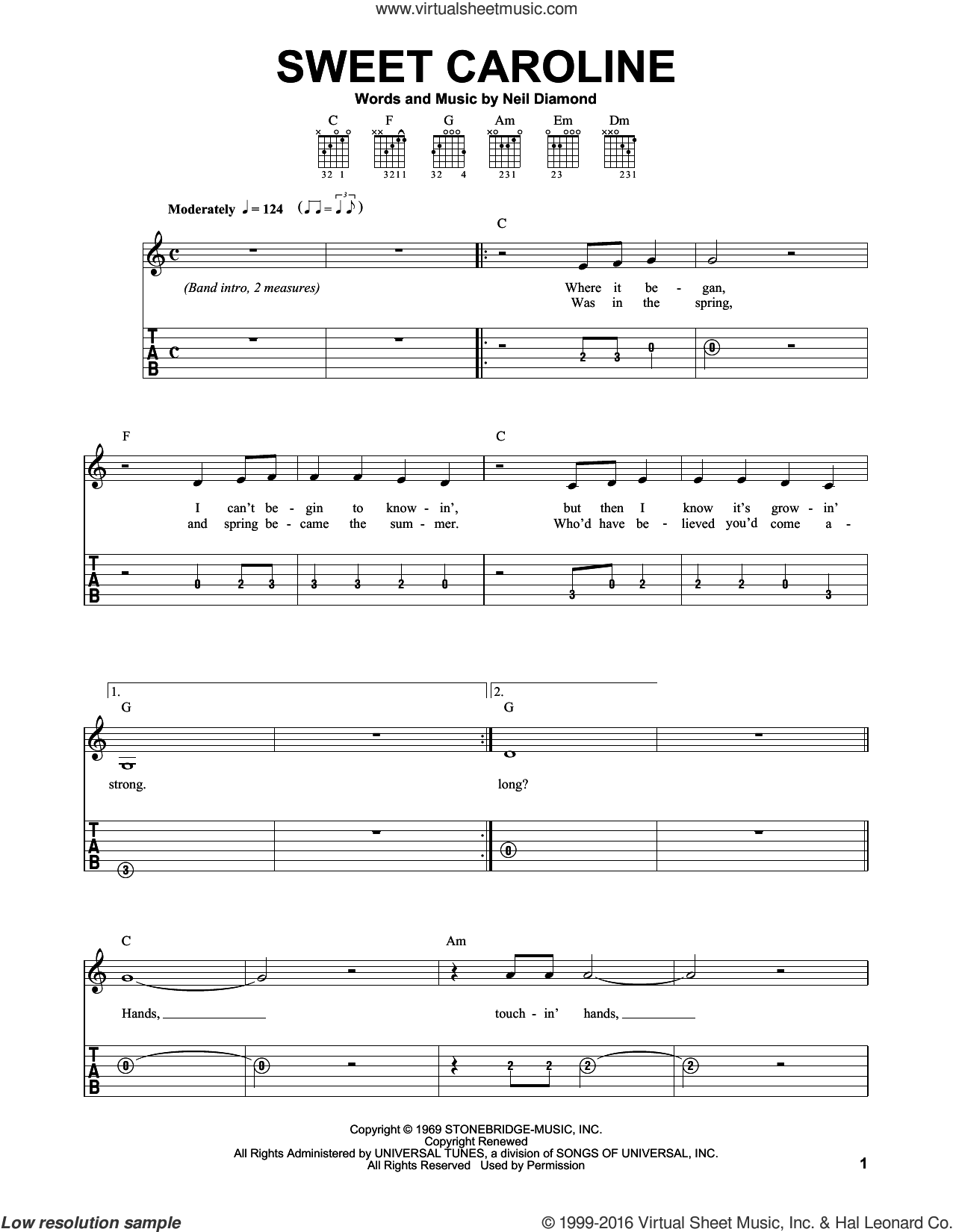 Sweet Caroline sheet music for guitar solo (easy tablature) by Neil Diamond and Dave Clo, easy guitar (easy tablature)