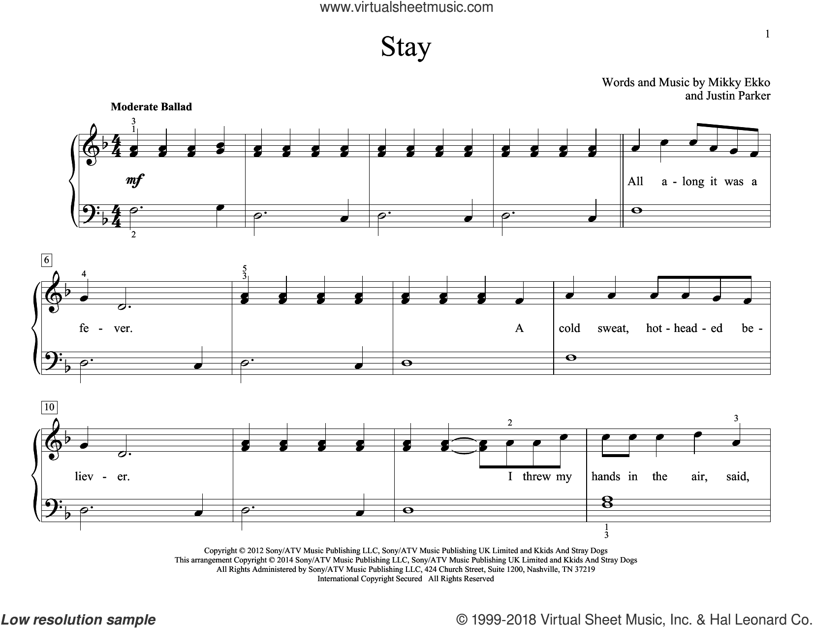 Stay sheet music for piano solo (elementary) by Mikky Ekko