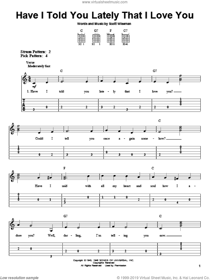 Have I Told You Lately That I Love You sheet music for guitar solo (easy tablature) by Scott Wiseman, Elvis Presley, Gene Autry, Kenny Rogers and Ricky Nelson. Score Image Preview.