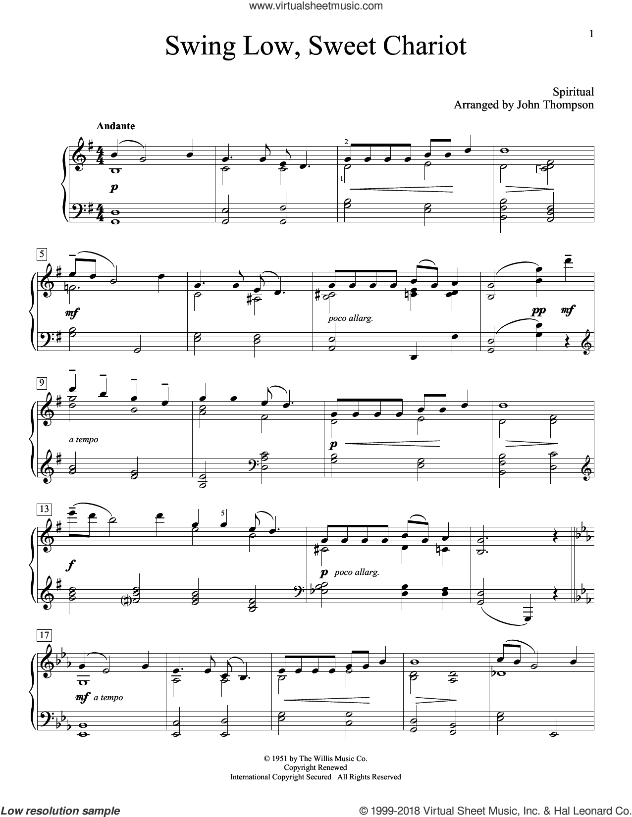 Swing Low, Sweet Chariot sheet music for piano solo (elementary) by Negro Spiritual and John Thompson. Score Image Preview.