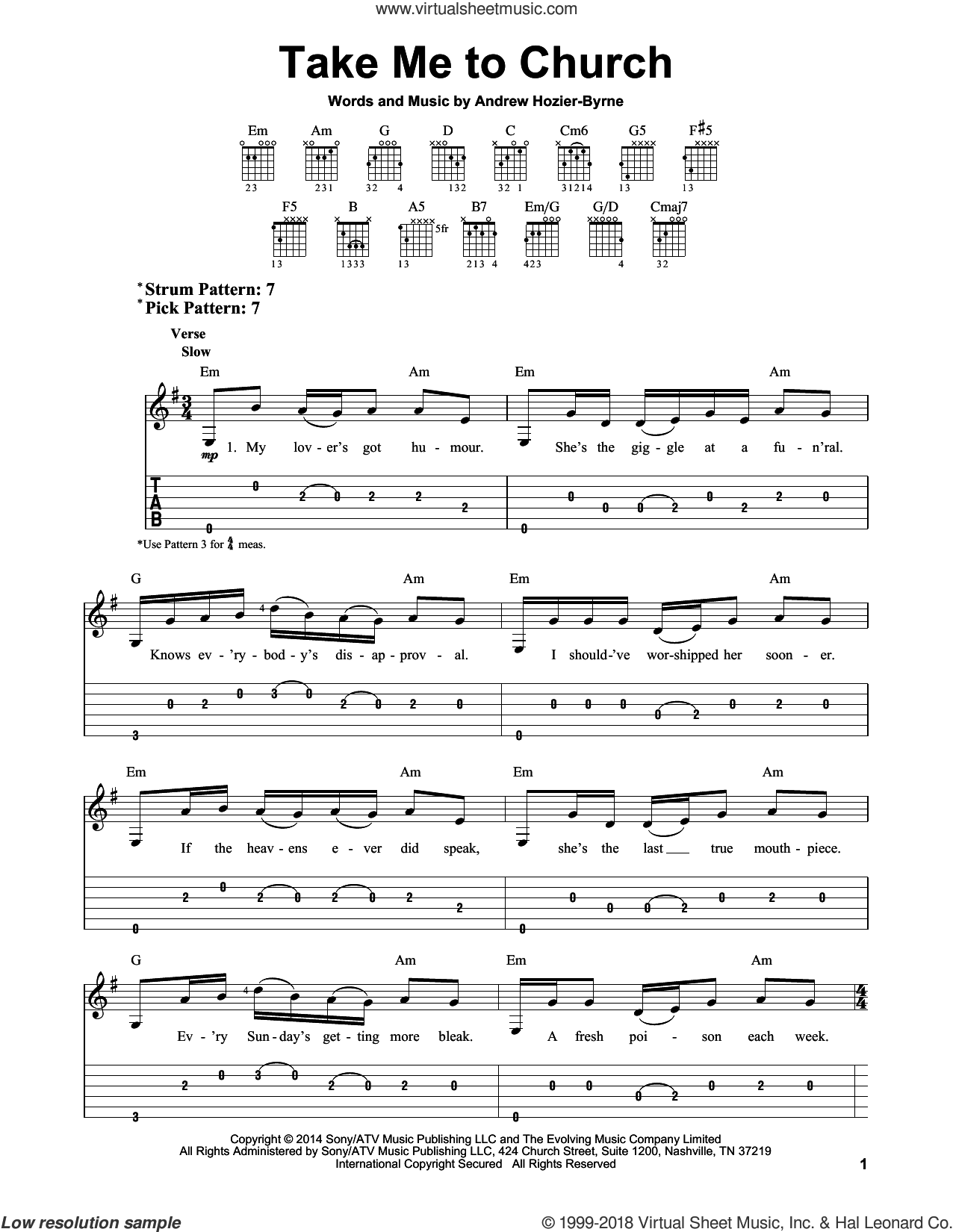 Take Me To Church sheet music for guitar solo (easy tablature) by Hozier and Andrew Hozier-Byrne, easy guitar (easy tablature)