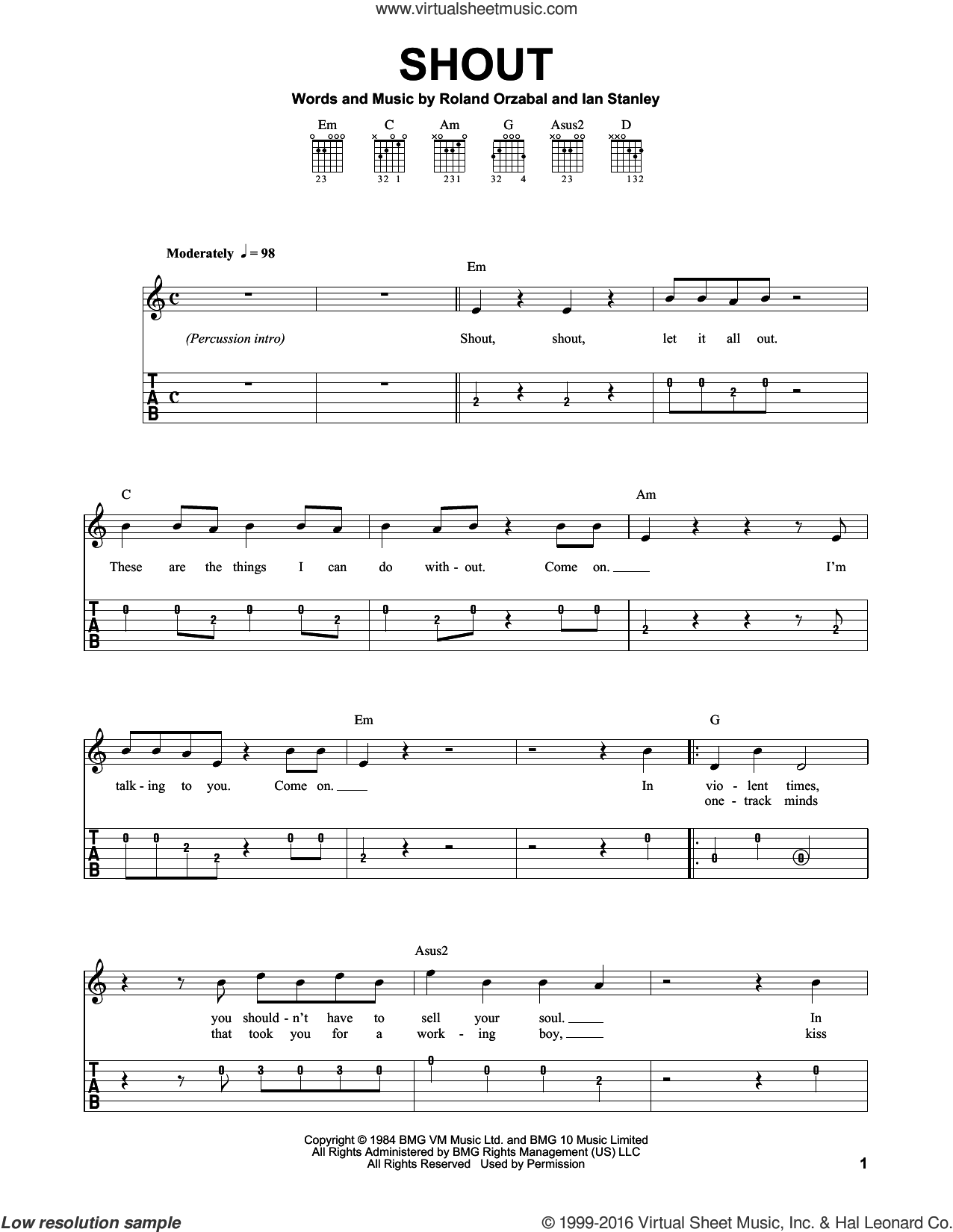 Shout sheet music for guitar solo (easy tablature) by Tears For Fears, Dave Clo, Ian Stanley and Roland Orzabal, easy guitar (easy tablature)