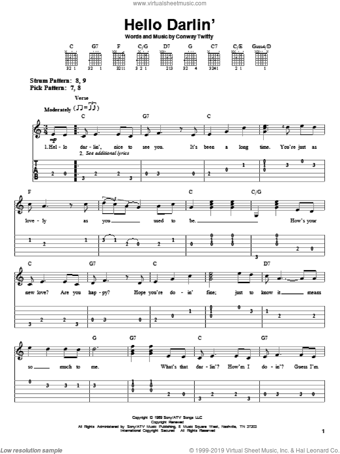 Hello Darlin' sheet music for guitar solo (easy tablature) by Conway Twitty, easy guitar (easy tablature). Score Image Preview.