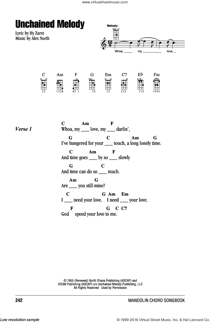 Unchained Melody sheet music for mandolin (chords only) by Hy Zaret, Barry Manilow, Elvis Presley, Les Baxter, The Righteous Brothers and Alex North. Score Image Preview.