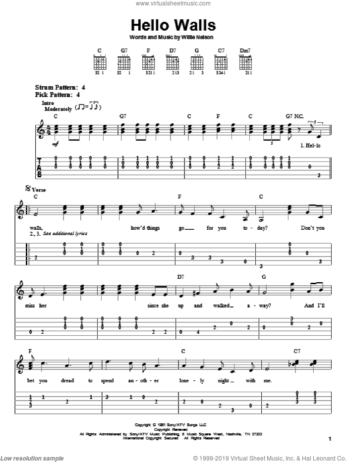 Hello Walls sheet music for guitar solo (easy tablature) by Willie Nelson and Faron Young. Score Image Preview.