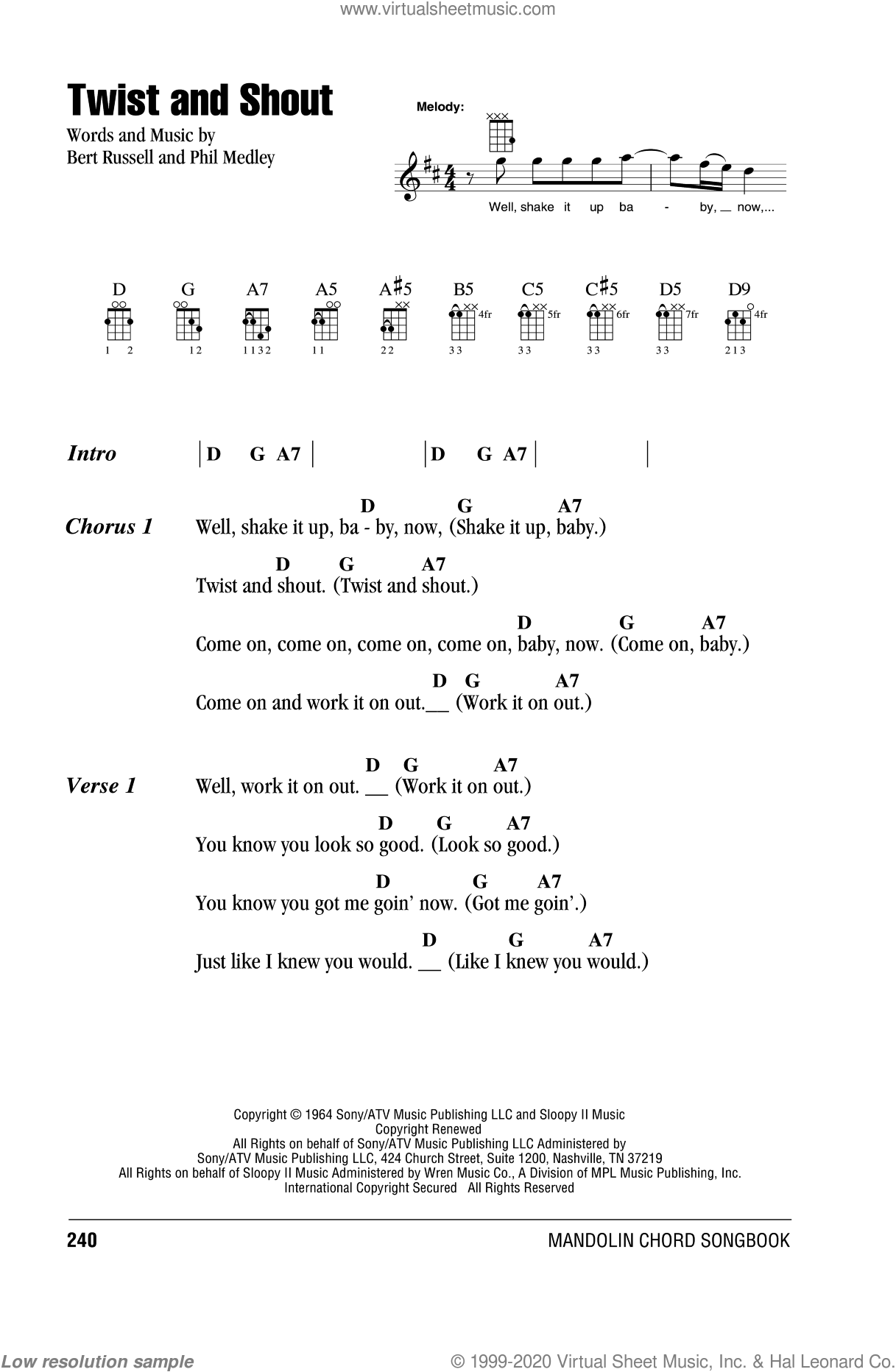 Twist And Shout sheet music for mandolin (chords only) by Phil Medley, The Beatles, The Isley Brothers and Bert Russell. Score Image Preview.