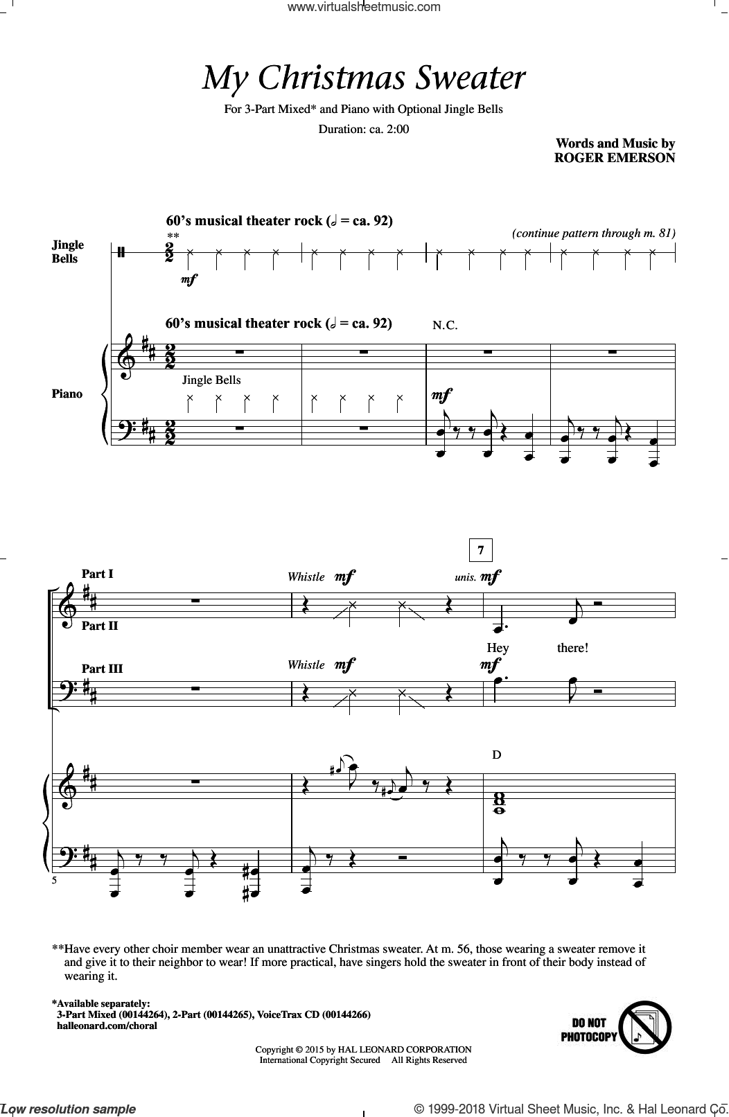 My Christmas Sweater sheet music for choir (3-Part Mixed) by Roger Emerson, intermediate skill level