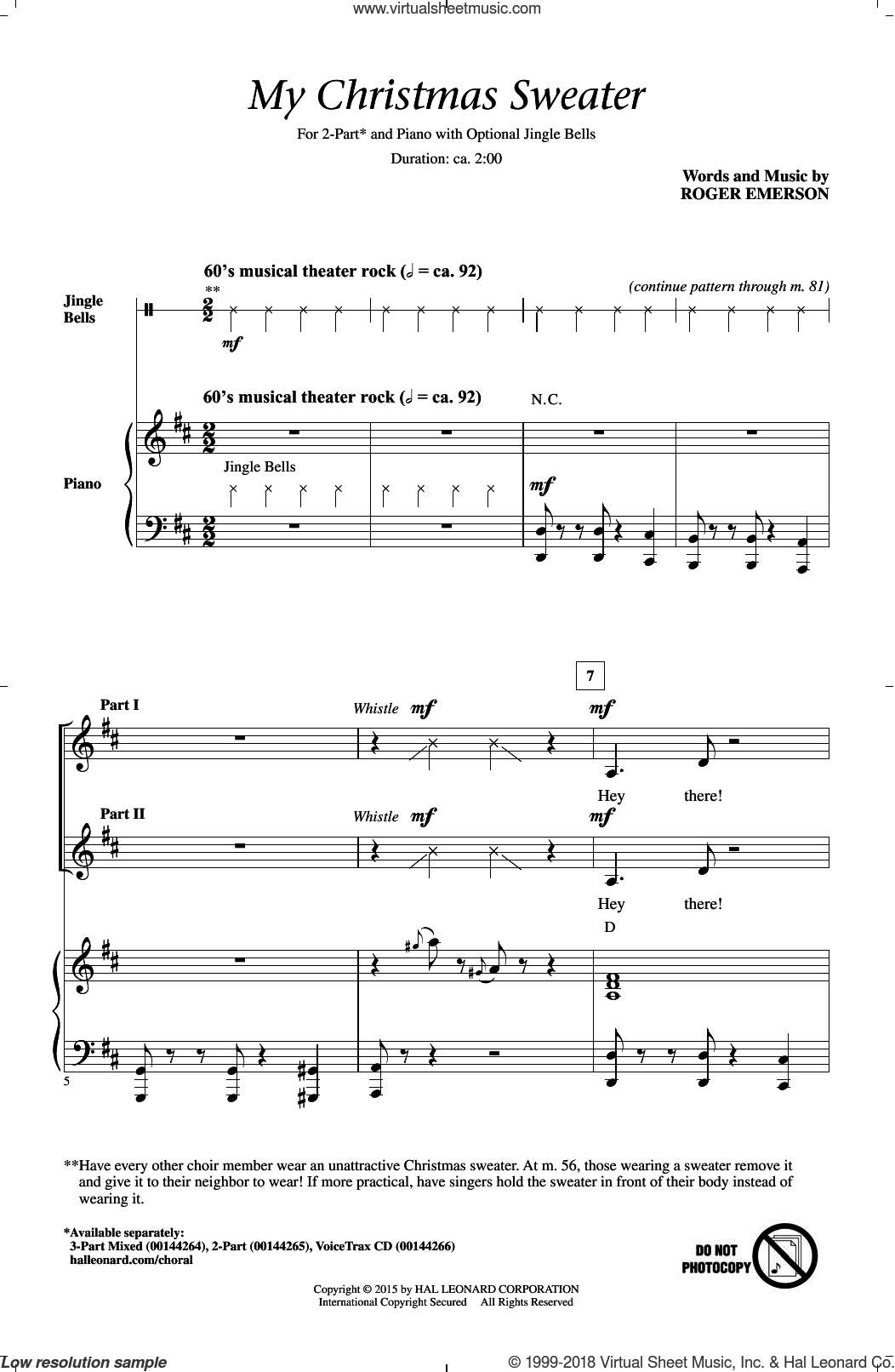 My Christmas Sweater sheet music for choir (duets) by Roger Emerson. Score Image Preview.